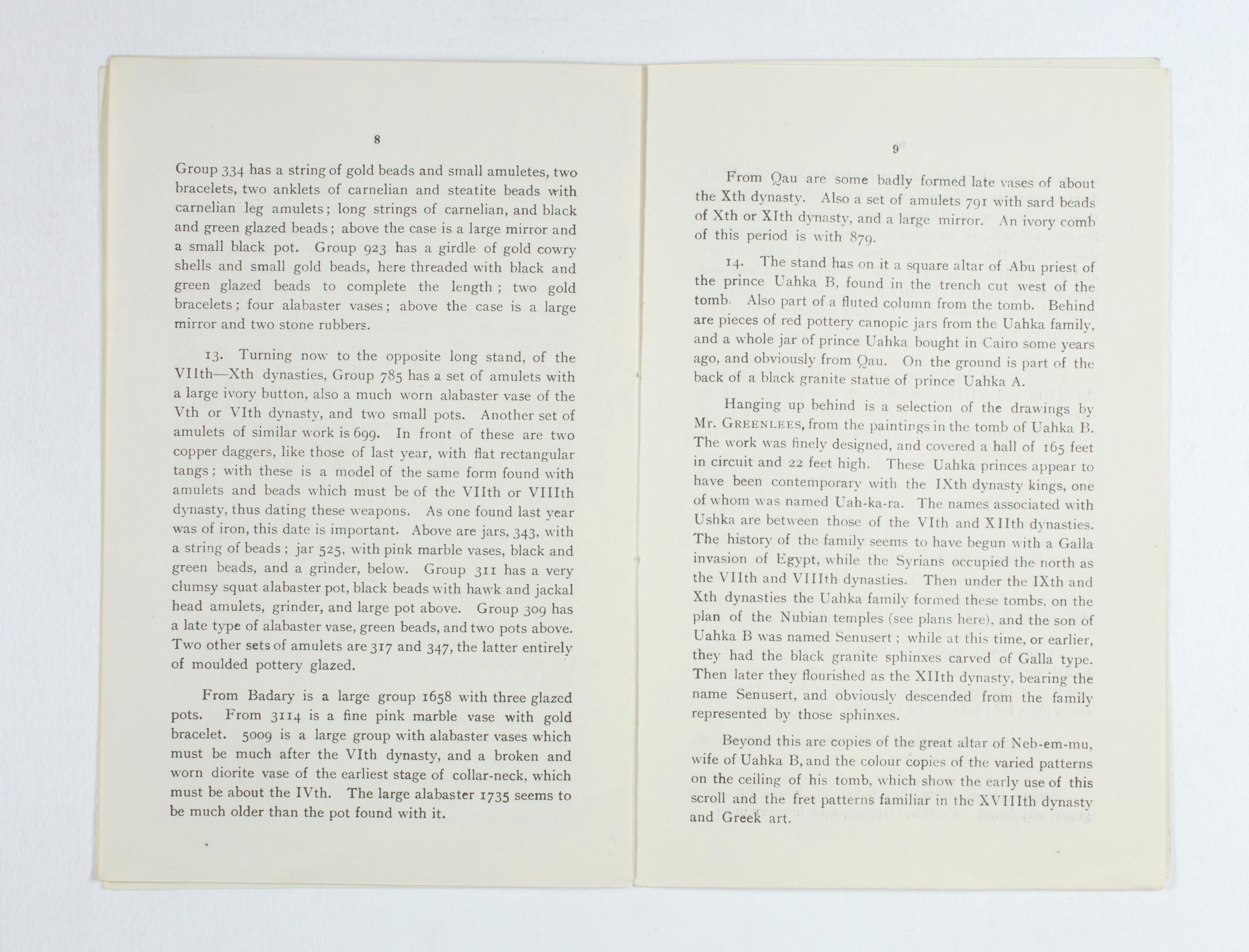 1923-24 Qau el-Kebir, Hemamieh Exhibition catalogue PMA/WFP1/D/27/29.6