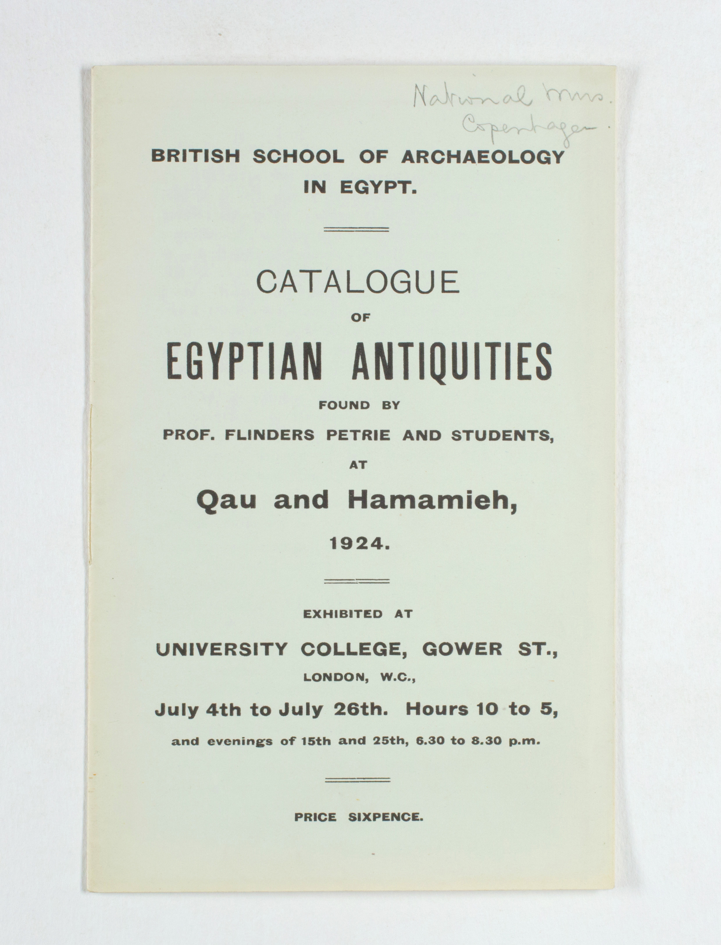 1923-24 Qau el-Kebir, Hemamieh Exhibition catalogue PMA/WFP1/D/27/30.1