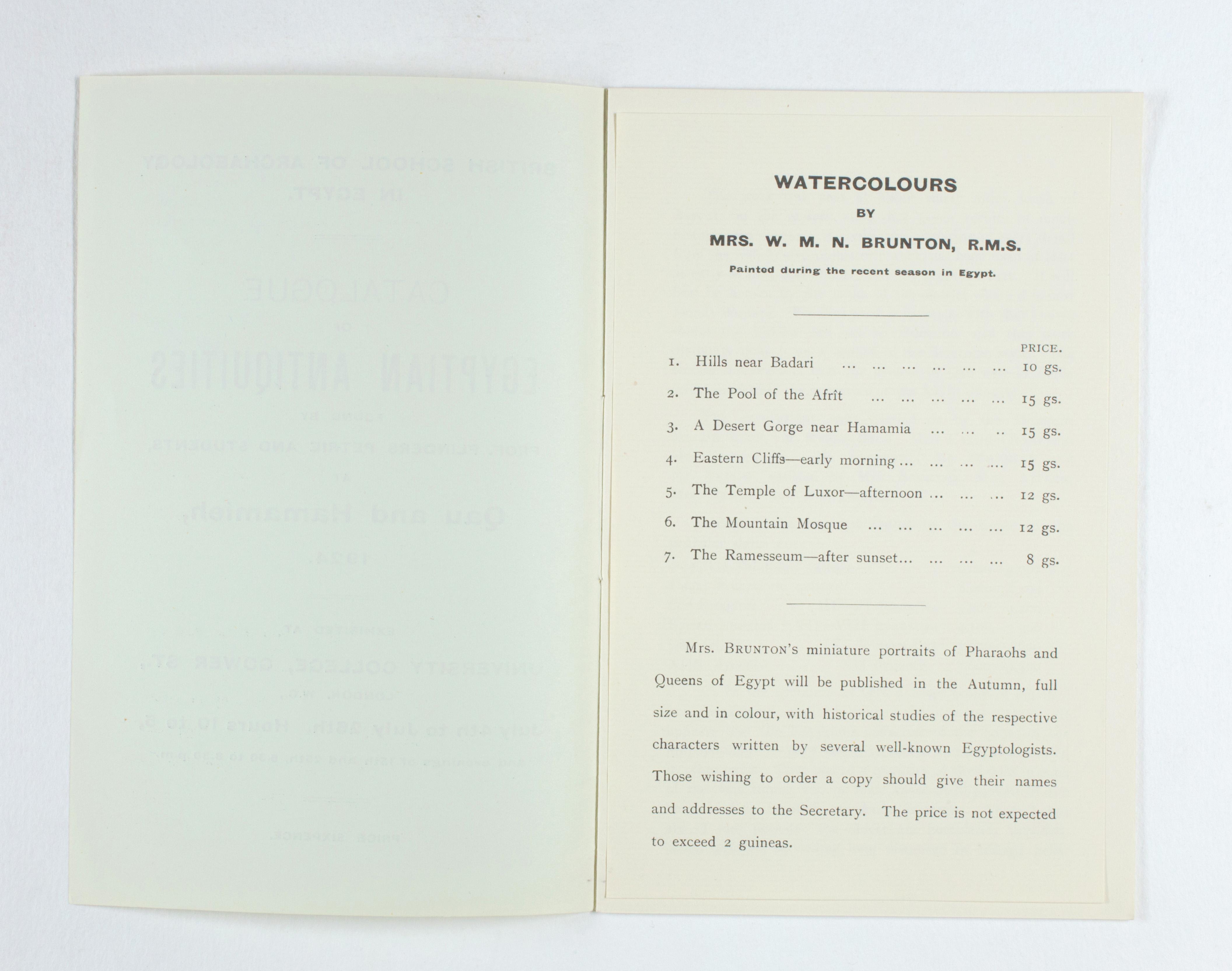 1923-24 Qau el-Kebir, Hemamieh Exhibition catalogue PMA/WFP1/D/27/31.2