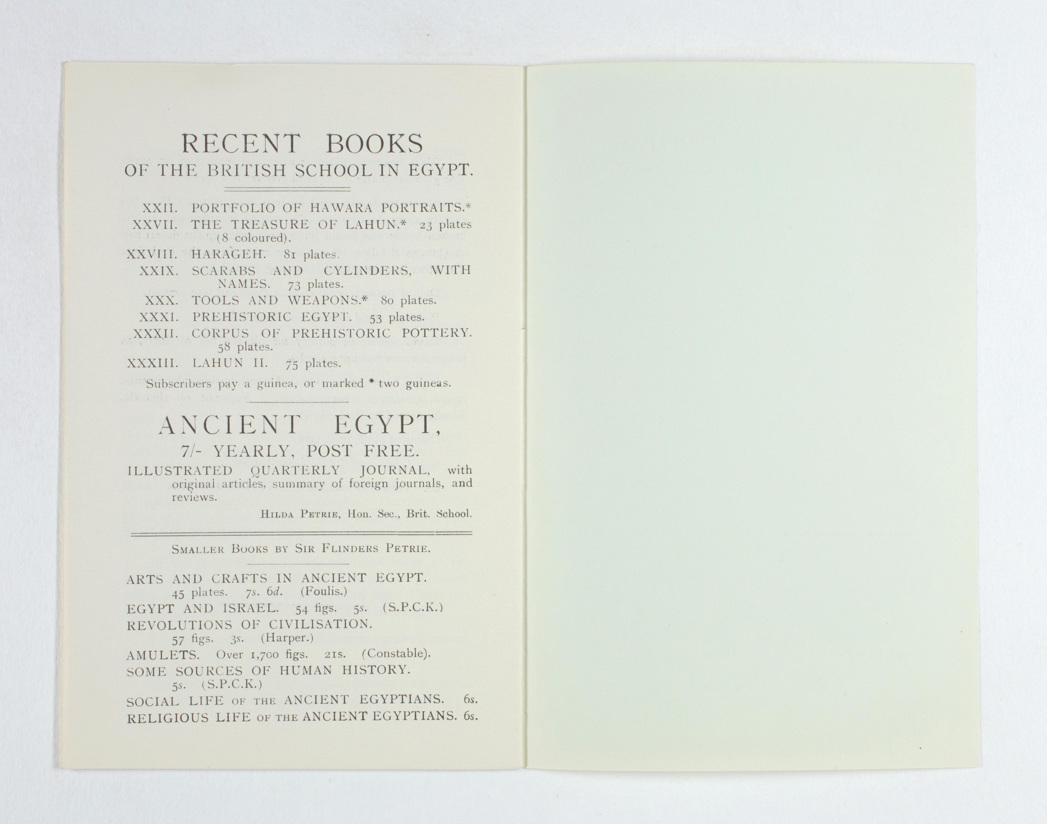 1923-24 Qau el-Kebir, Hemamieh Exhibition catalogue PMA/WFP1/D/27/31.9