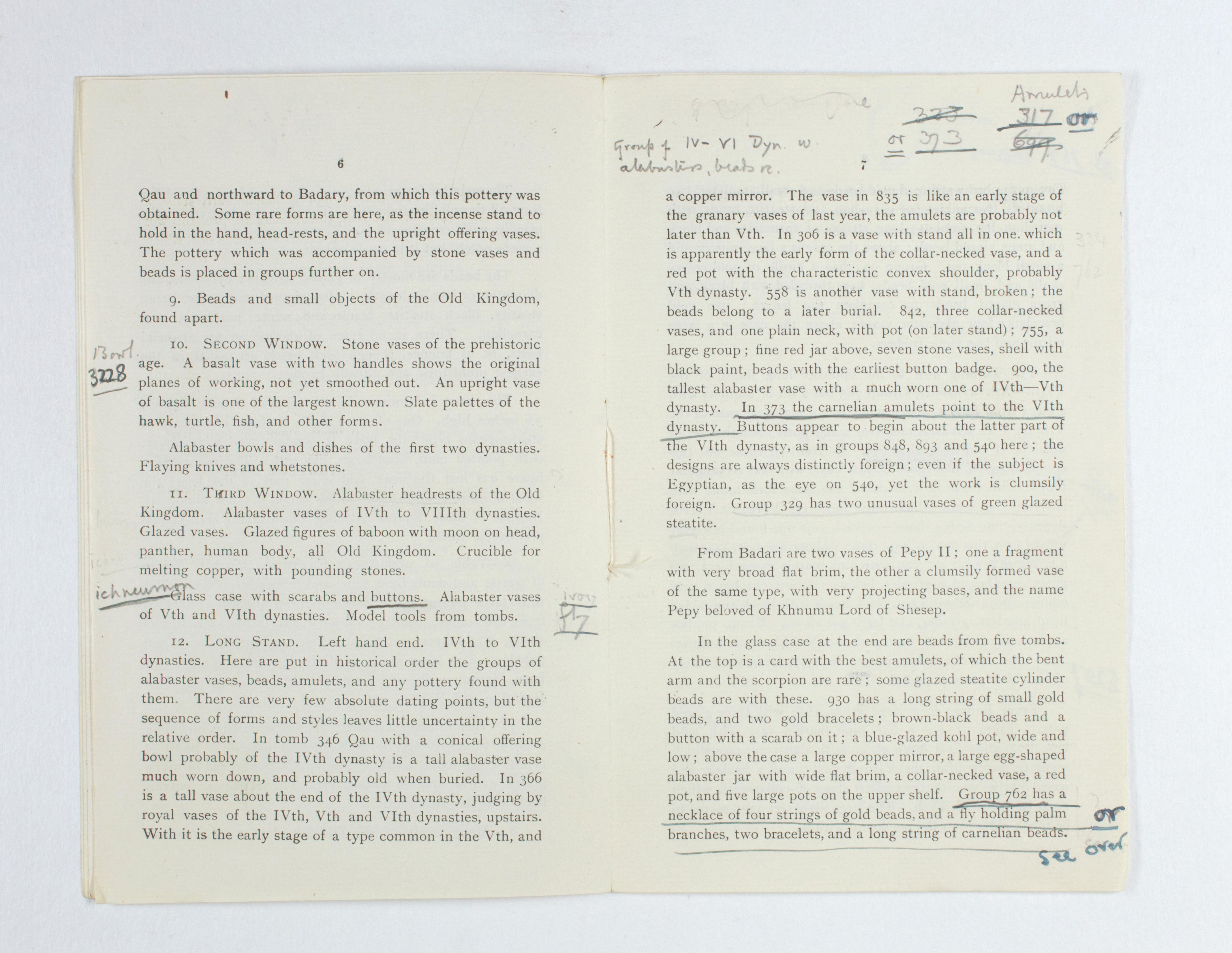 1923-24 Qau el-Kebir, Hemamieh Exhibition catalogue PMA/WFP1/D/27/34.5