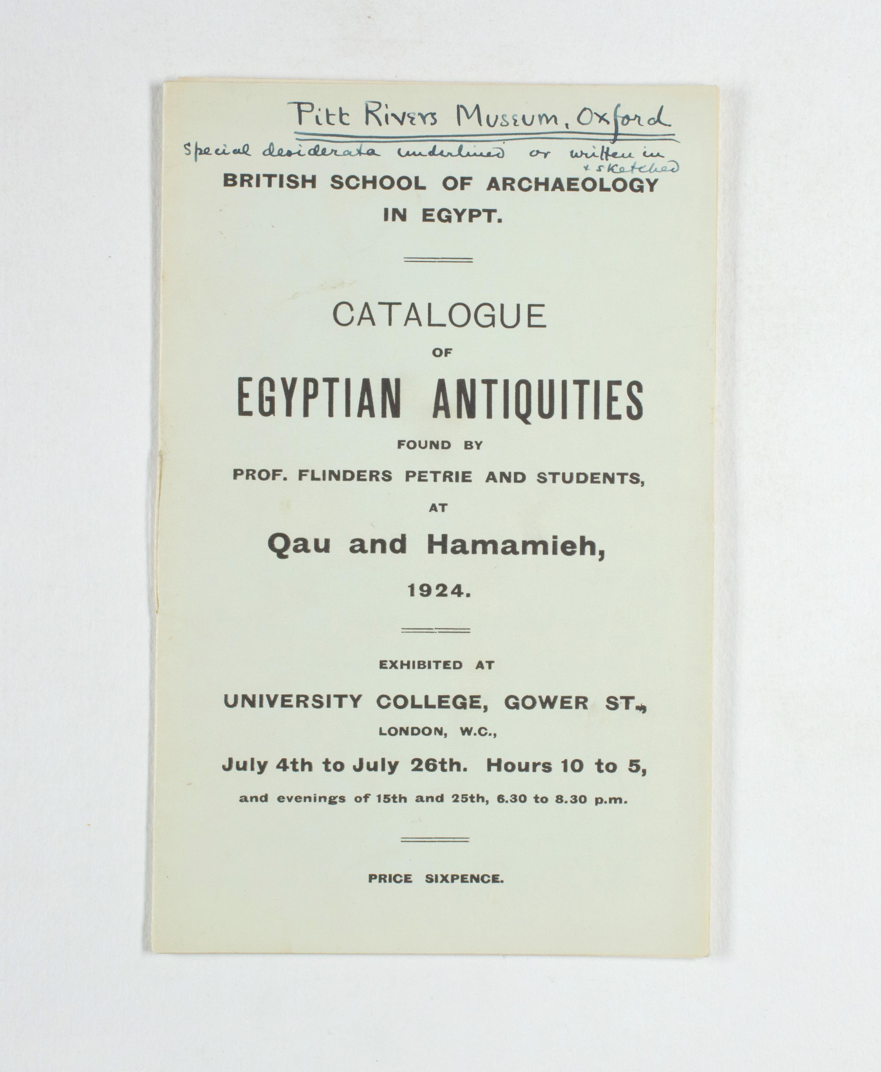 1923-24 Qau el-Kebir, Hemamieh Exhibition catalogue PMA/WFP1/D/27/35.1