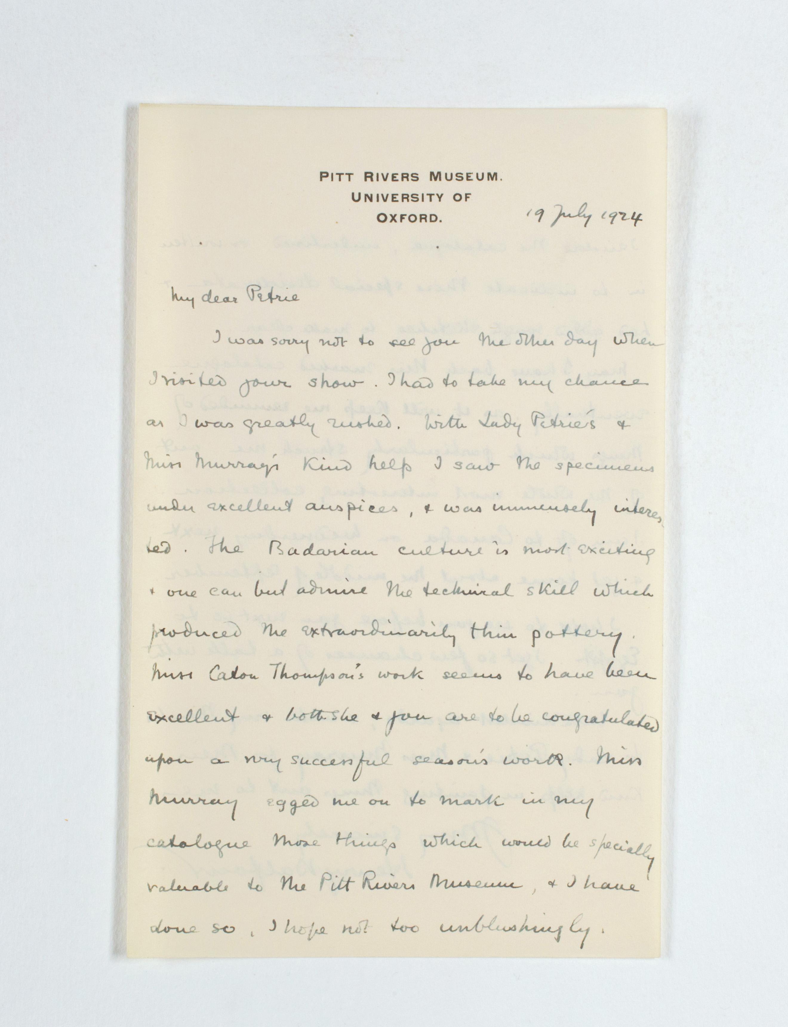 1923-24 Qau el-Kebir, Hemamieh Correspondence PMA/WFP1/D/27/35.2