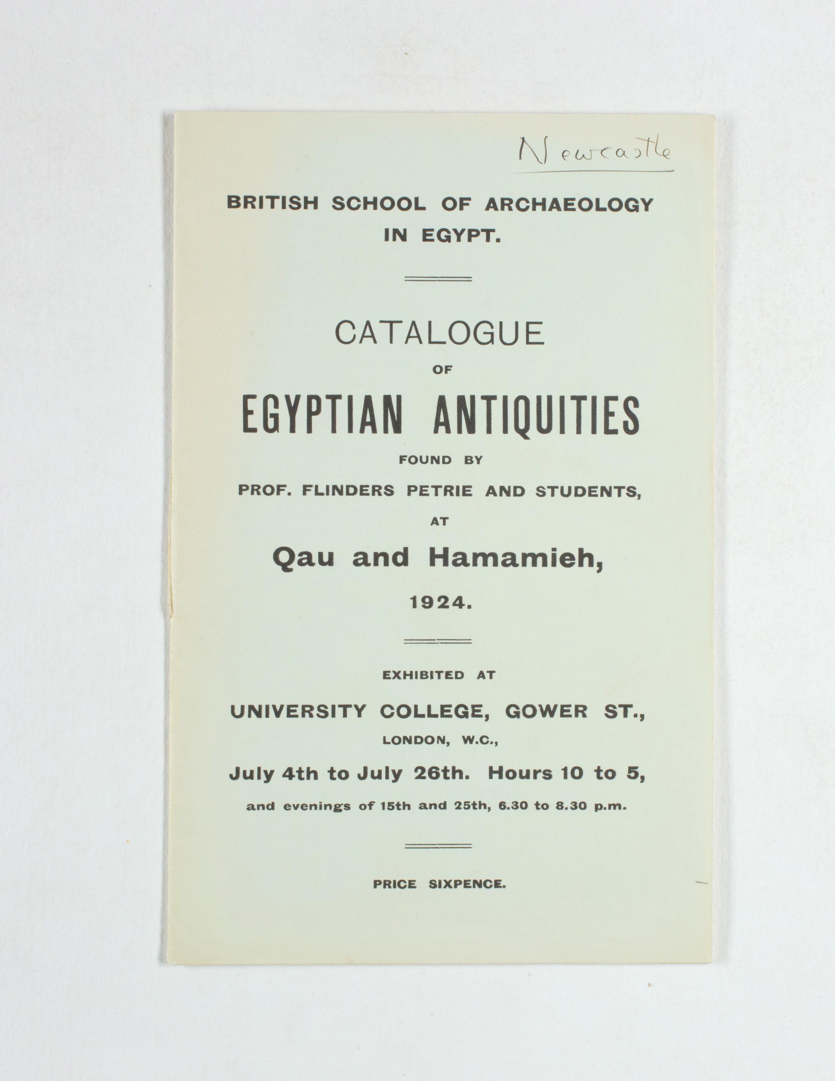 1923-24 Qau el-Kebir, Hemamieh Exhibition catalogue PMA/WFP1/D/27/36.1