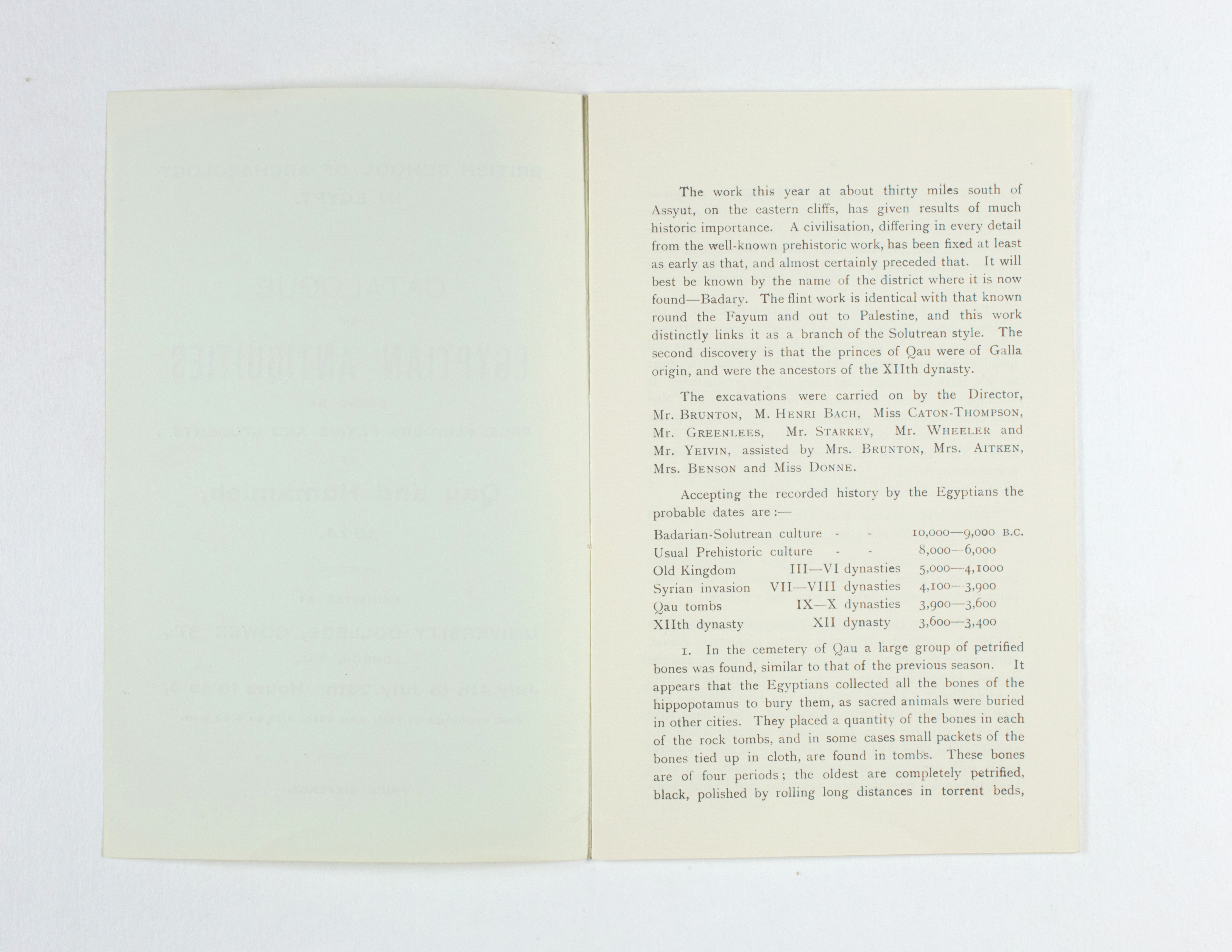 1923-24 Qau el-Kebir, Hemamieh Exhibition catalogue PMA/WFP1/D/27/36.2