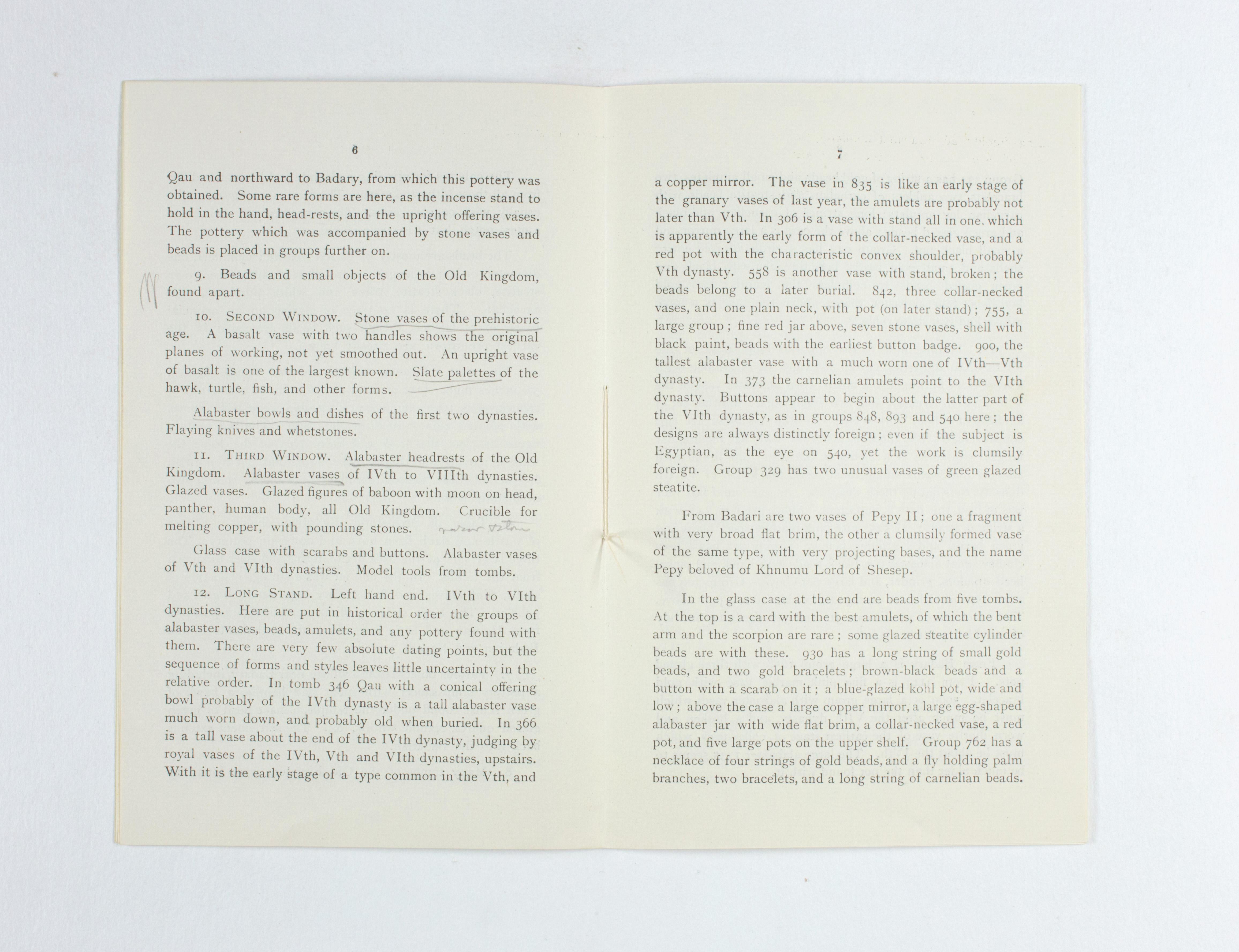 1923-24 Qau el-Kebir, Hemamieh Exhibition catalogue PMA/WFP1/D/27/36.6