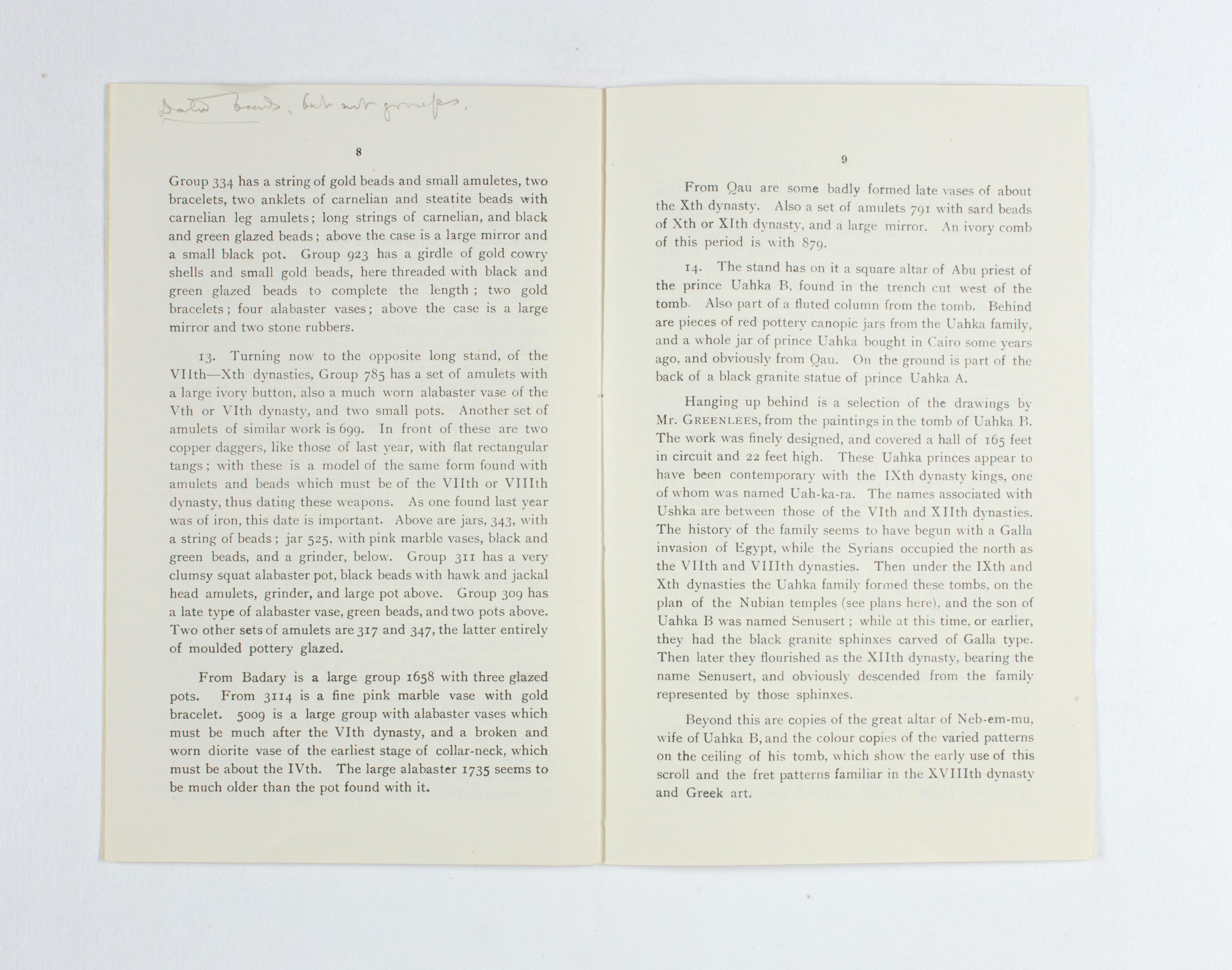 1923-24 Qau el-Kebir, Hemamieh Exhibition catalogue PMA/WFP1/D/27/36.7