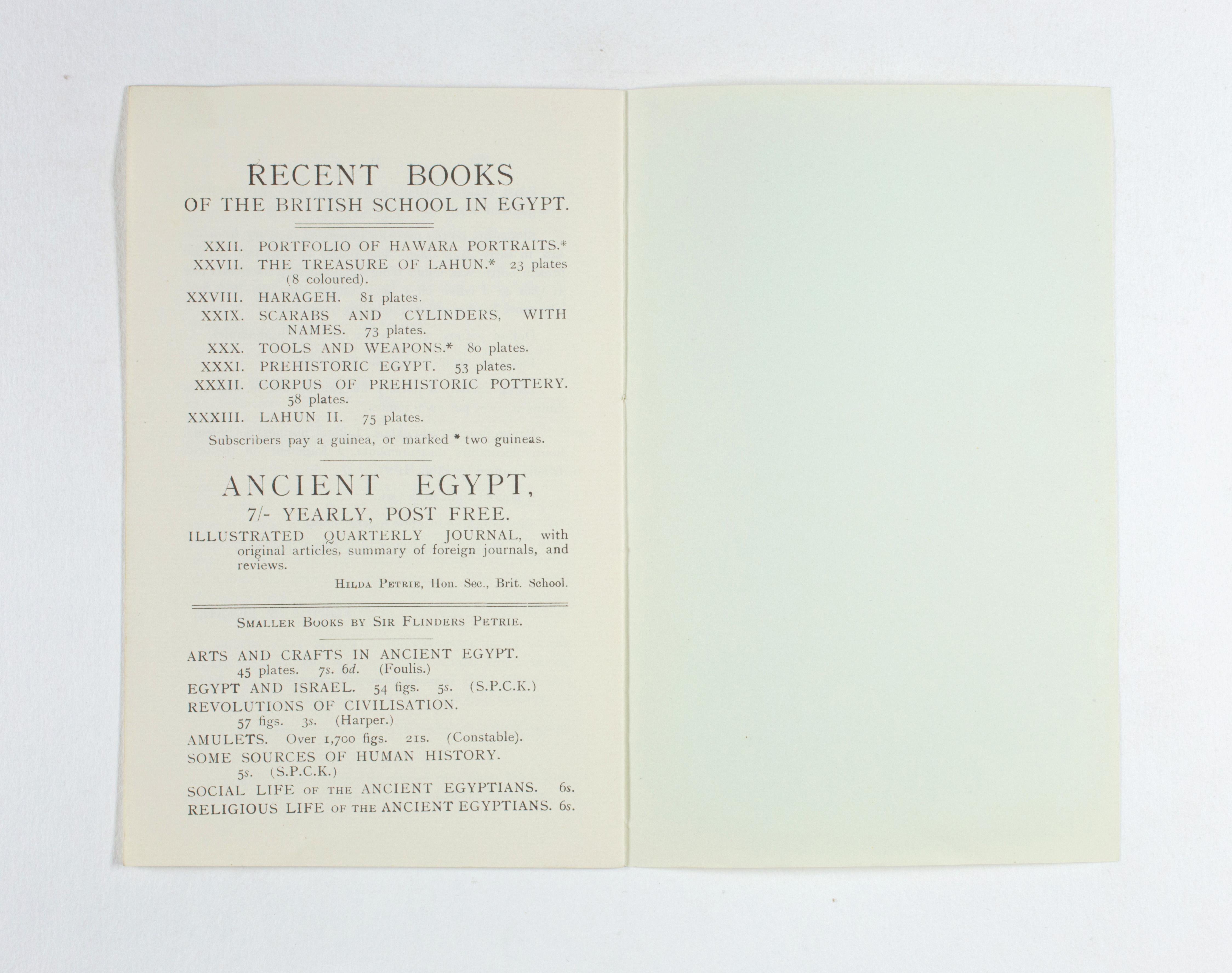 1923-24 Qau el-Kebir, Hemamieh Exhibition catalogue PMA/WFP1/D/27/36.9