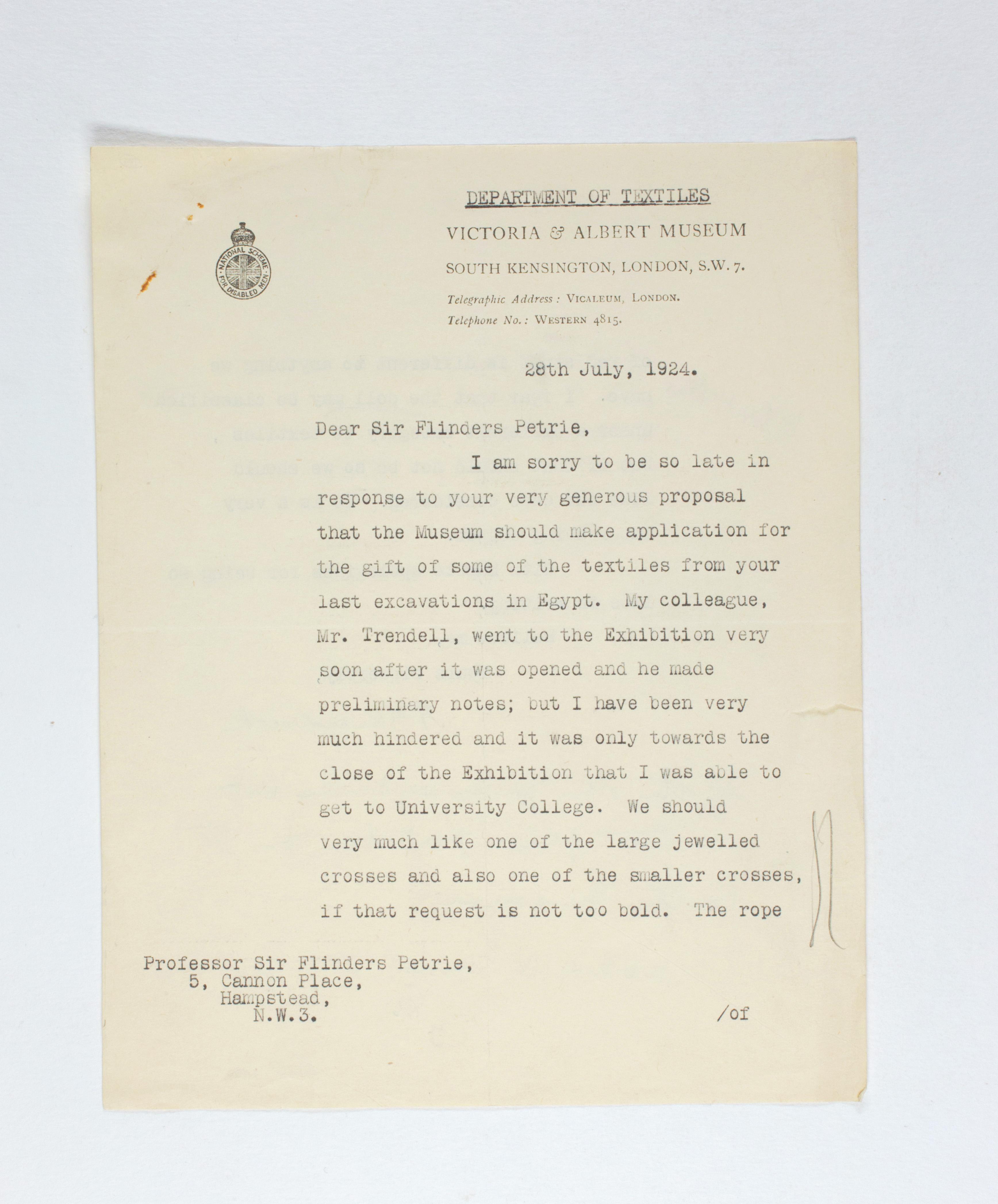 1923-24 Qau el-Kebir, Hemamieh Correspondence PMA/WFP1/D/27/39.1