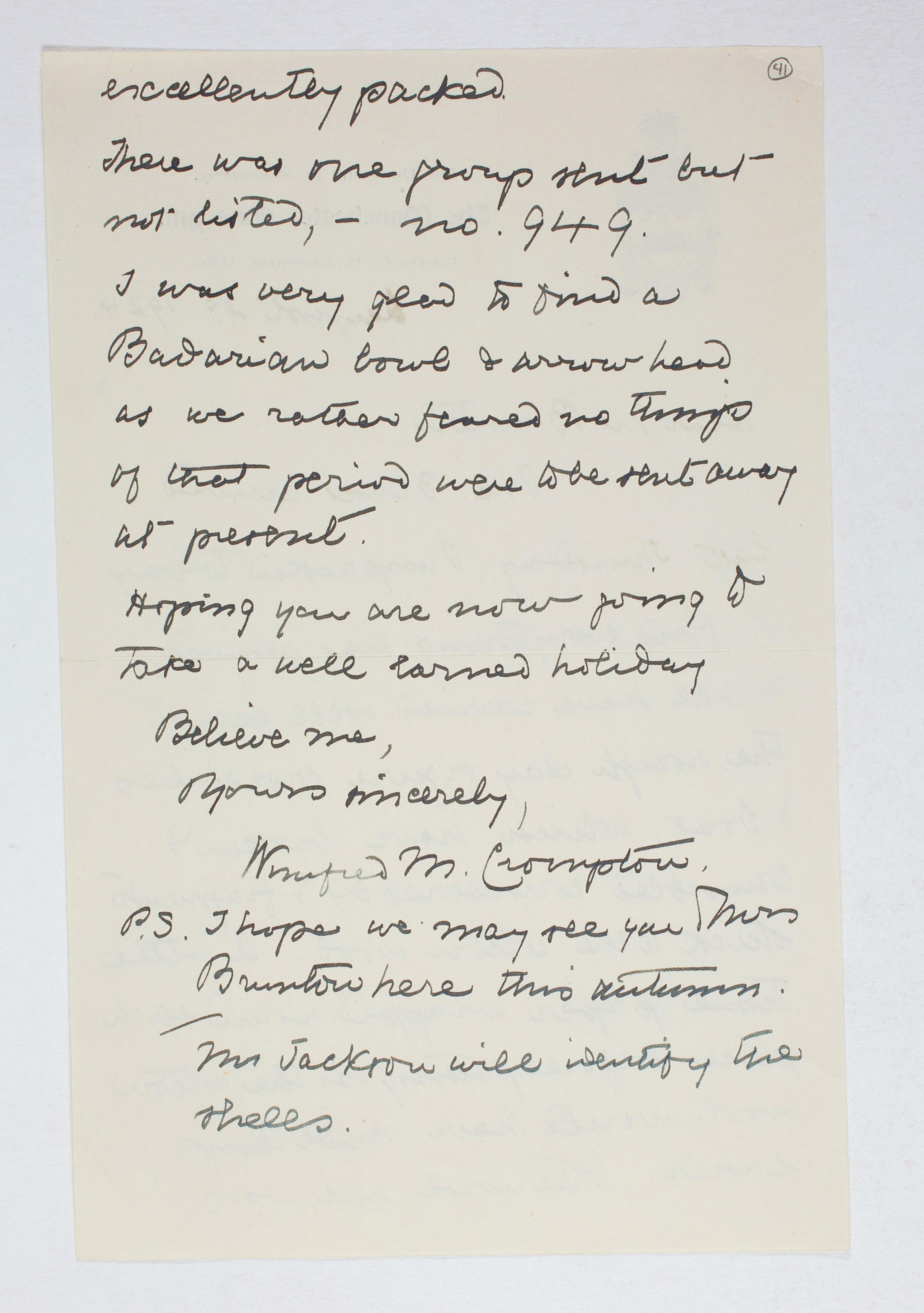 1923-24 Qau el-Kebir, Hemamieh Correspondence PMA/WFP1/D/27/41.2