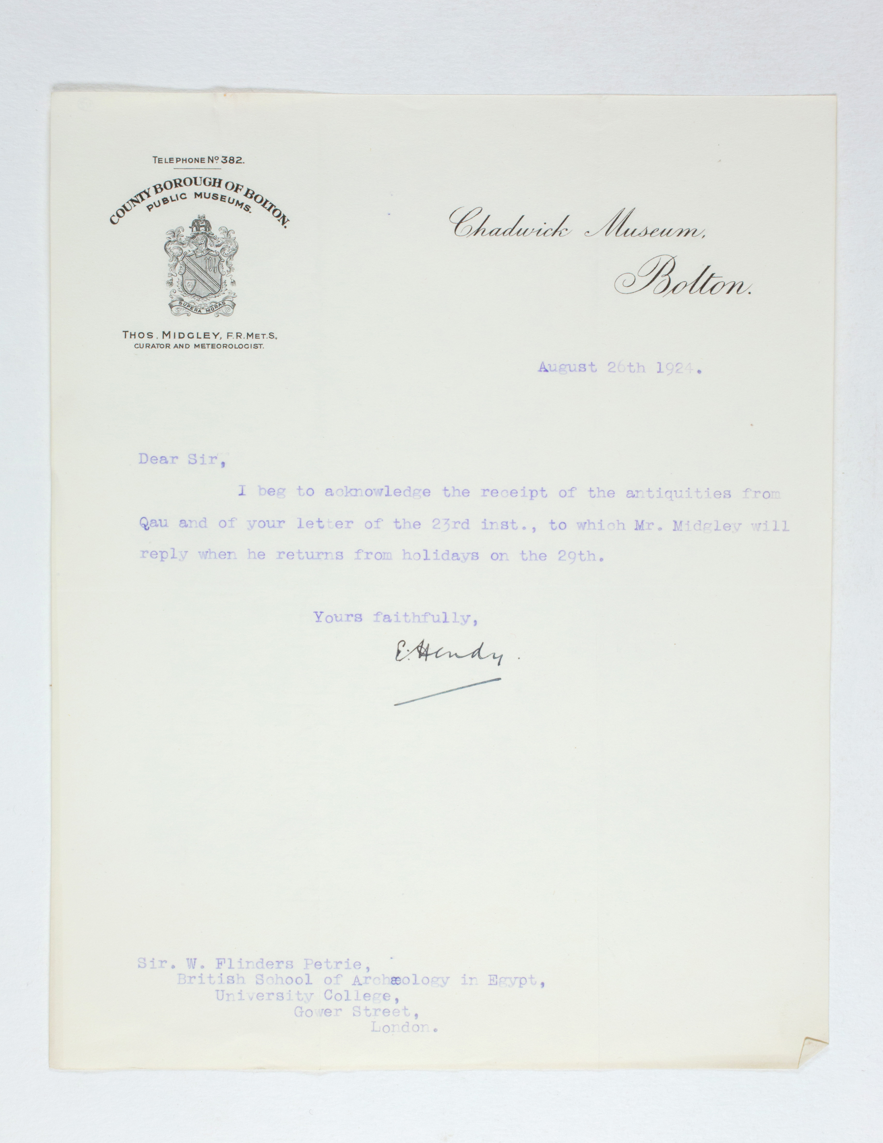 1923-24 Qau el-Kebir, Hemamieh Receipt from institution  PMA/WFP1/D/27/42