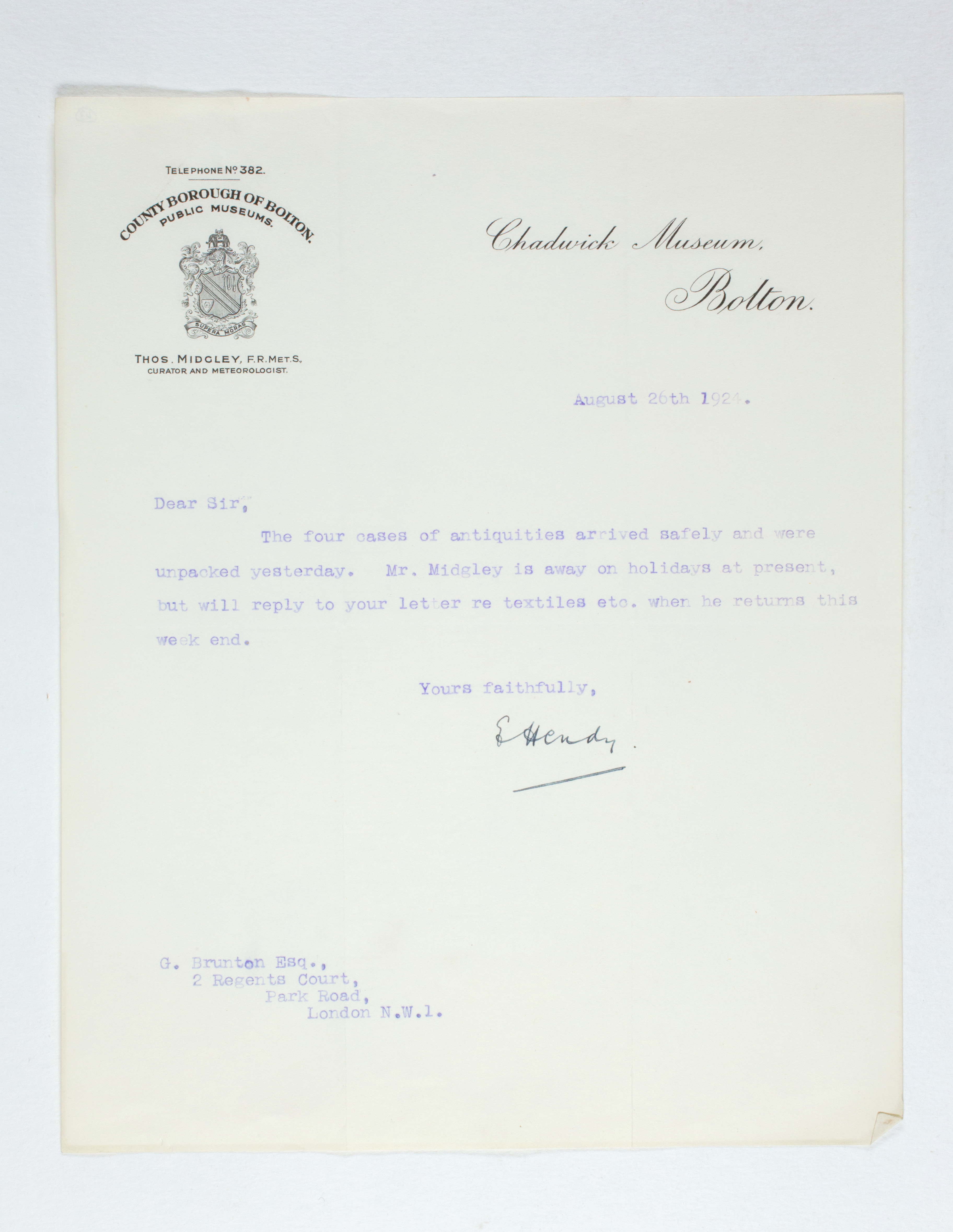 1923-24 Qau el-Kebir, Hemamieh Correspondence PMA/WFP1/D/27/43