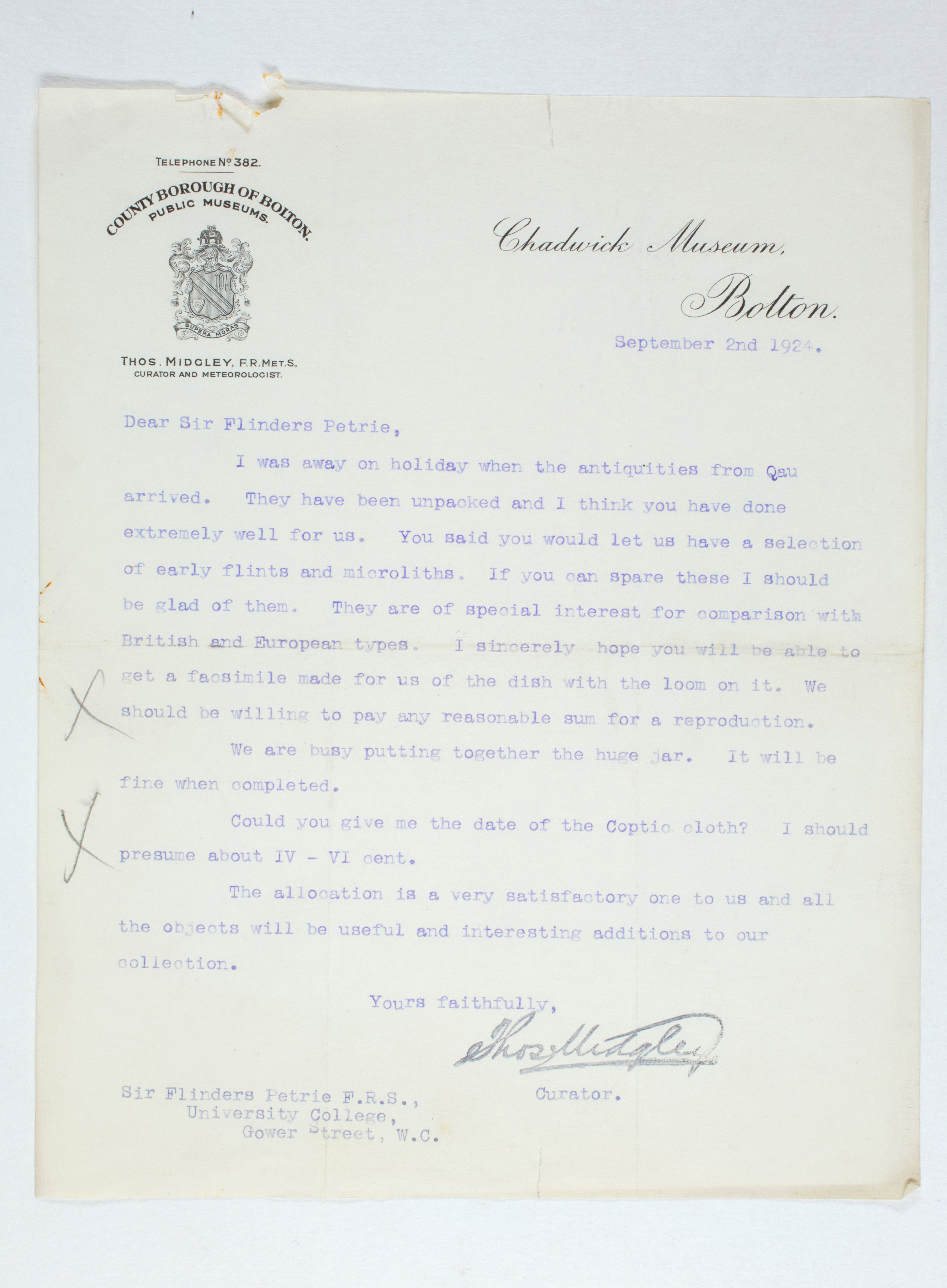 1923-24 Qau el-Kebir, Hemamieh Correspondence PMA/WFP1/D/27/46