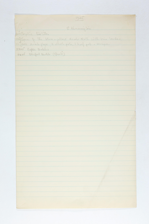 1924-25 Badari, Faiyum Individual institution list PMA/WFP1/D/28/13