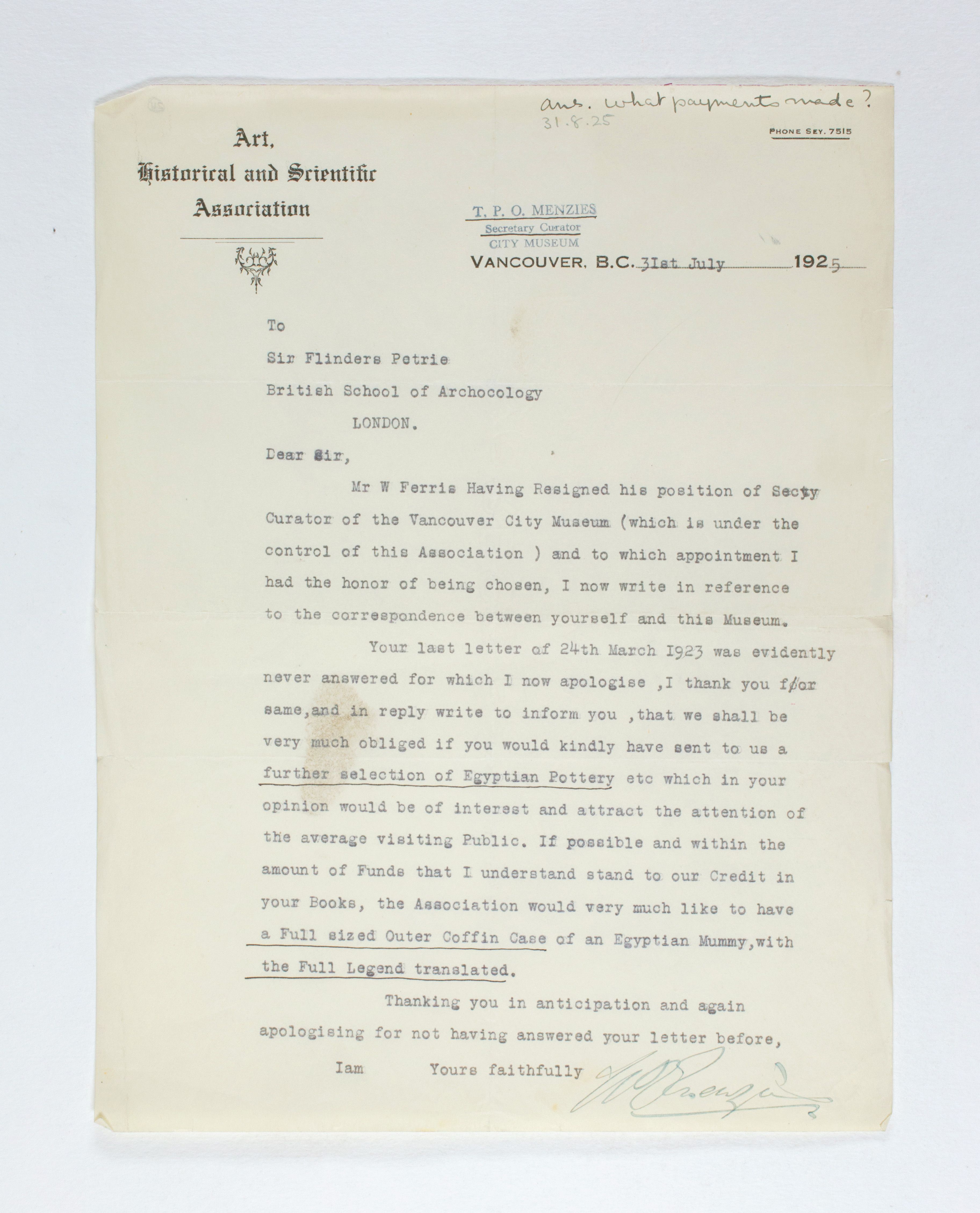 1924-25 Badari, Faiyum Correspondence PMA/WFP1/D/28/24