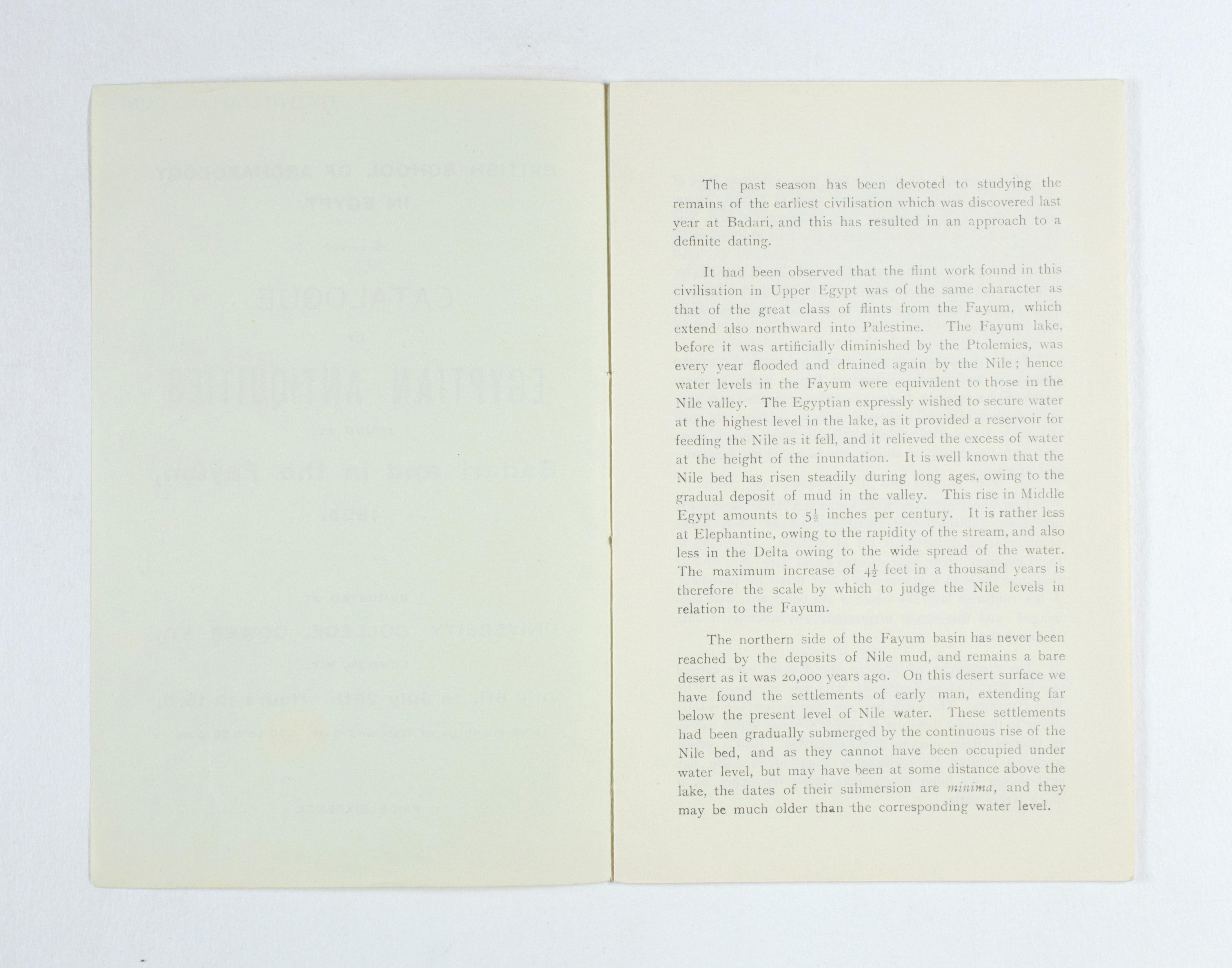 1924-25 Badari, Faiyum Exhibition catalogue PMA/WFP1/D/28/28.2