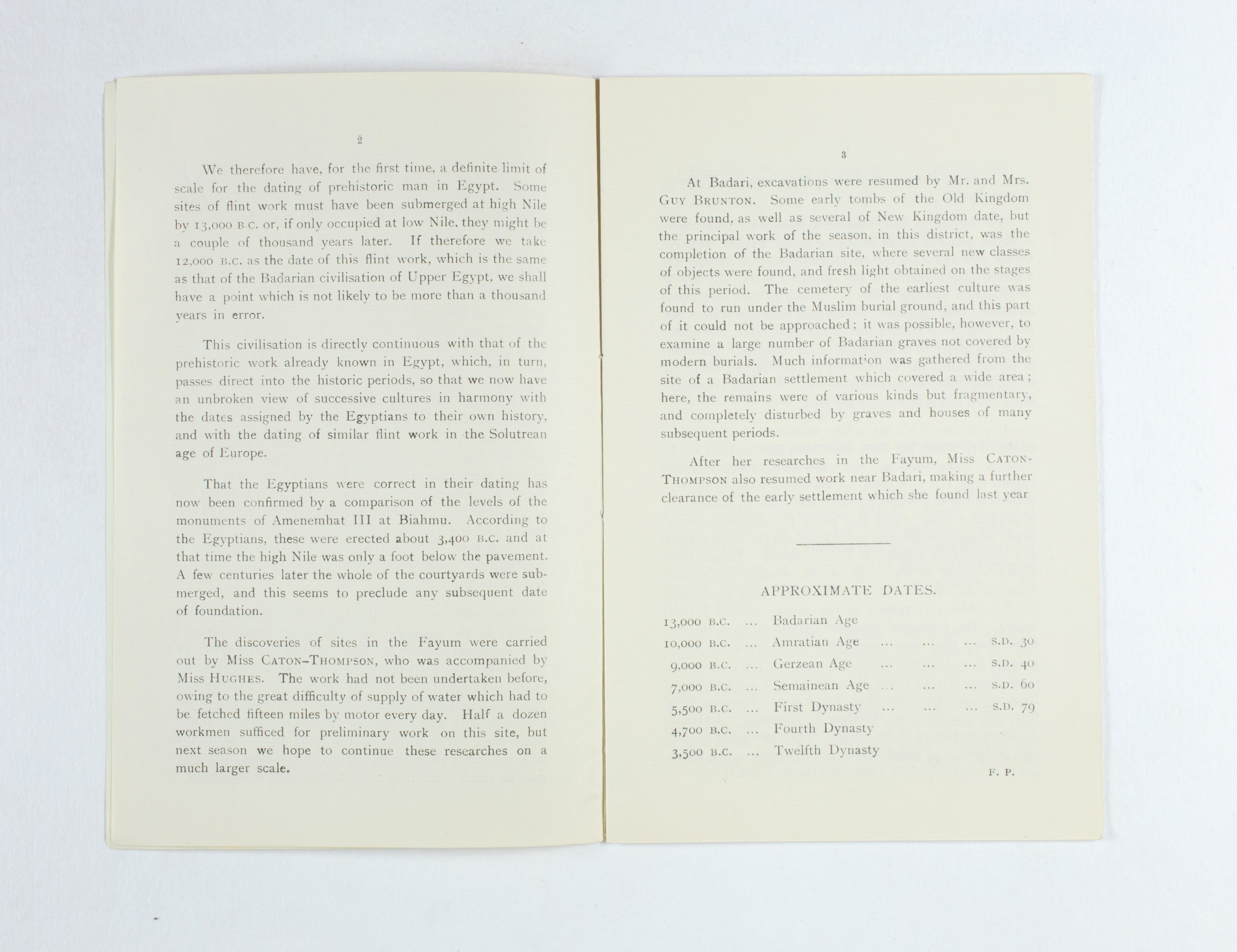 1924-25 Badari, Faiyum Exhibition catalogue PMA/WFP1/D/28/28.3