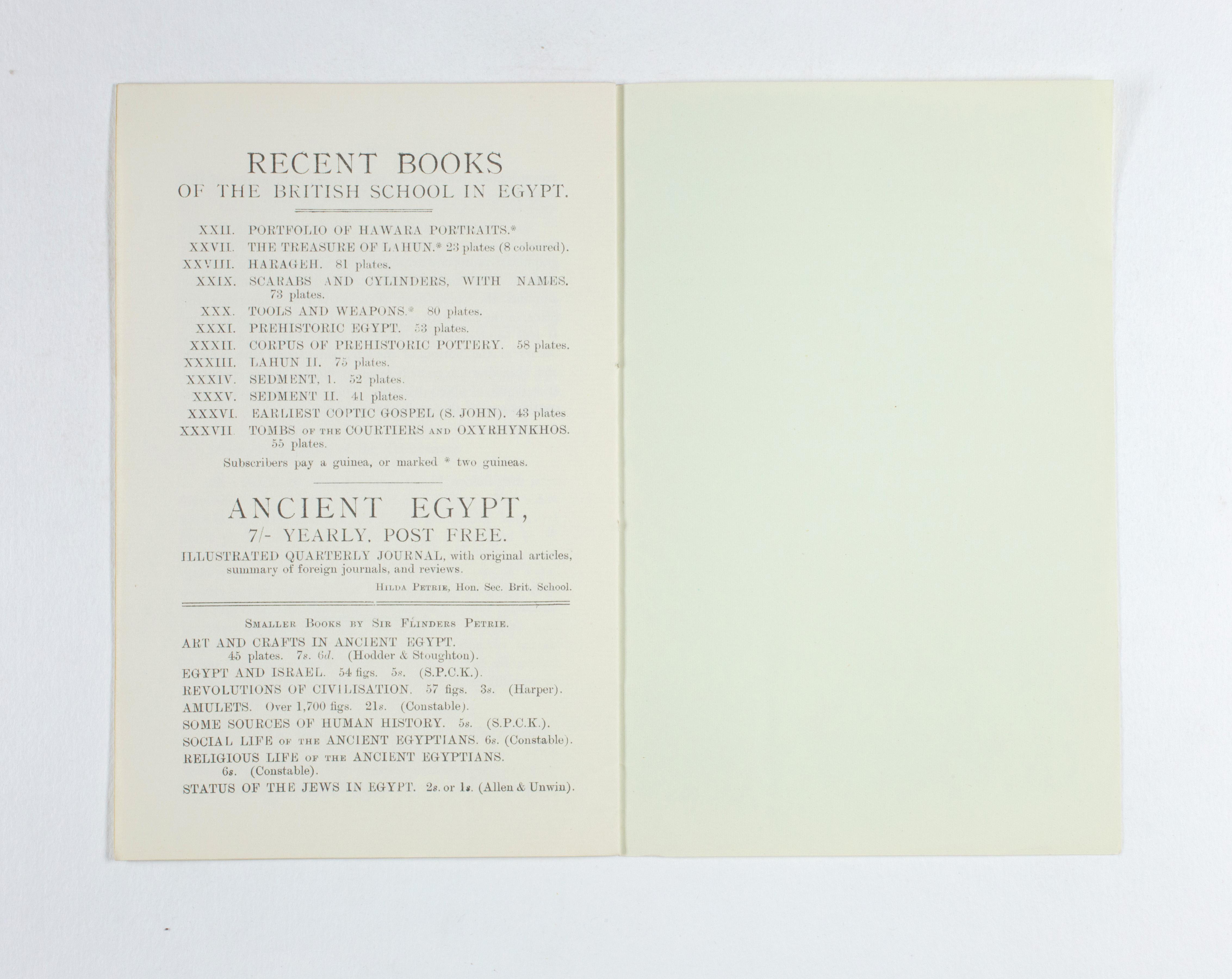 1924-25 Badari, Faiyum Exhibition catalogue PMA/WFP1/D/28/28.8
