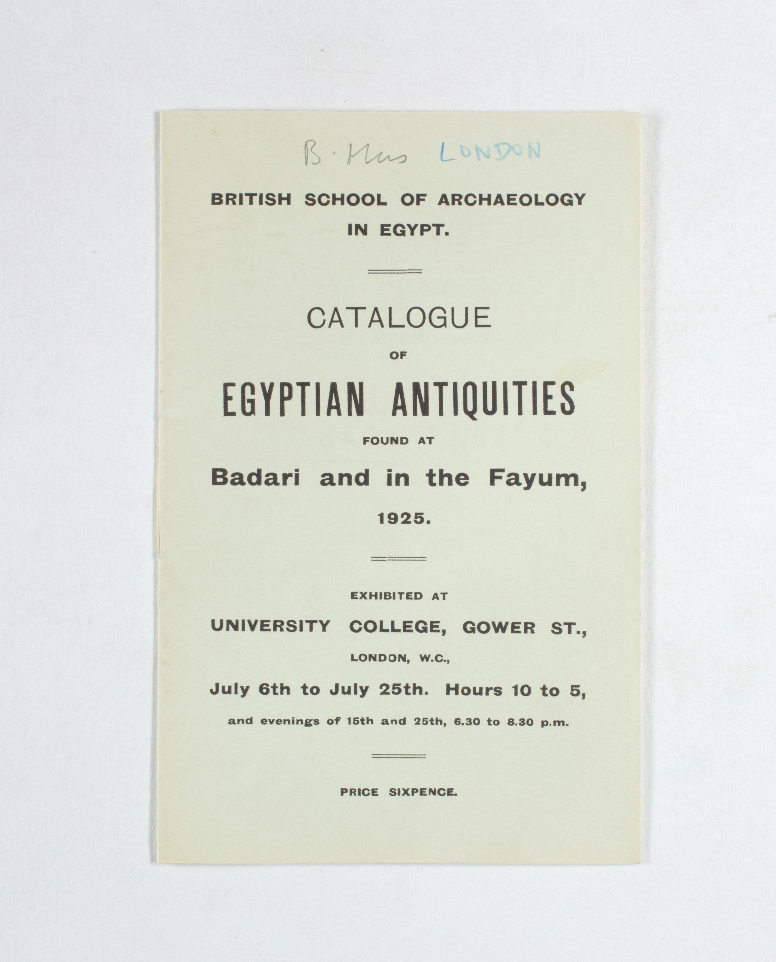 1924-25 Badari, Faiyum Exhibition catalogue PMA/WFP1/D/28/29.1