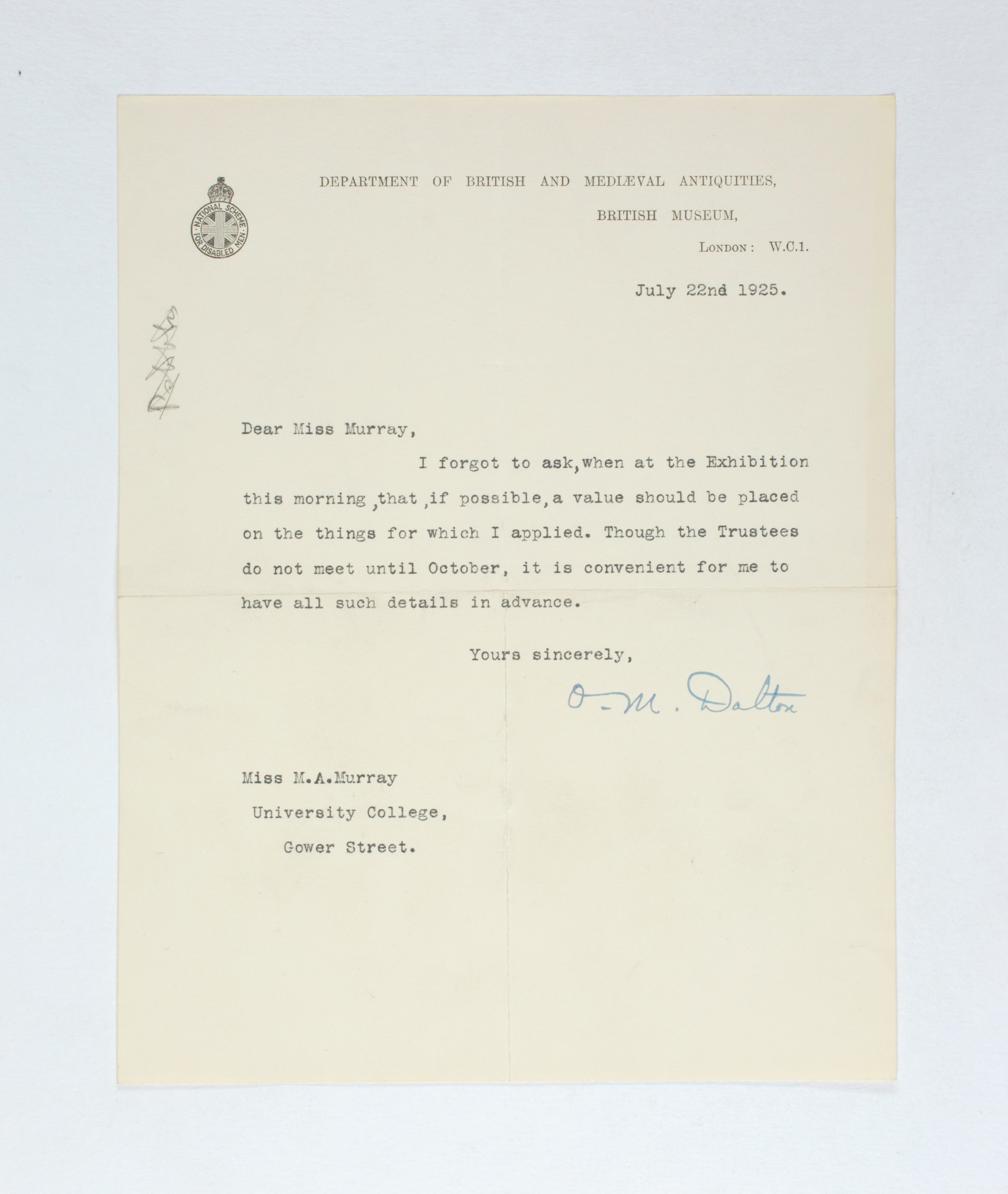 1924-25 Badari, Faiyum Correspondence PMA/WFP1/D/28/29.10