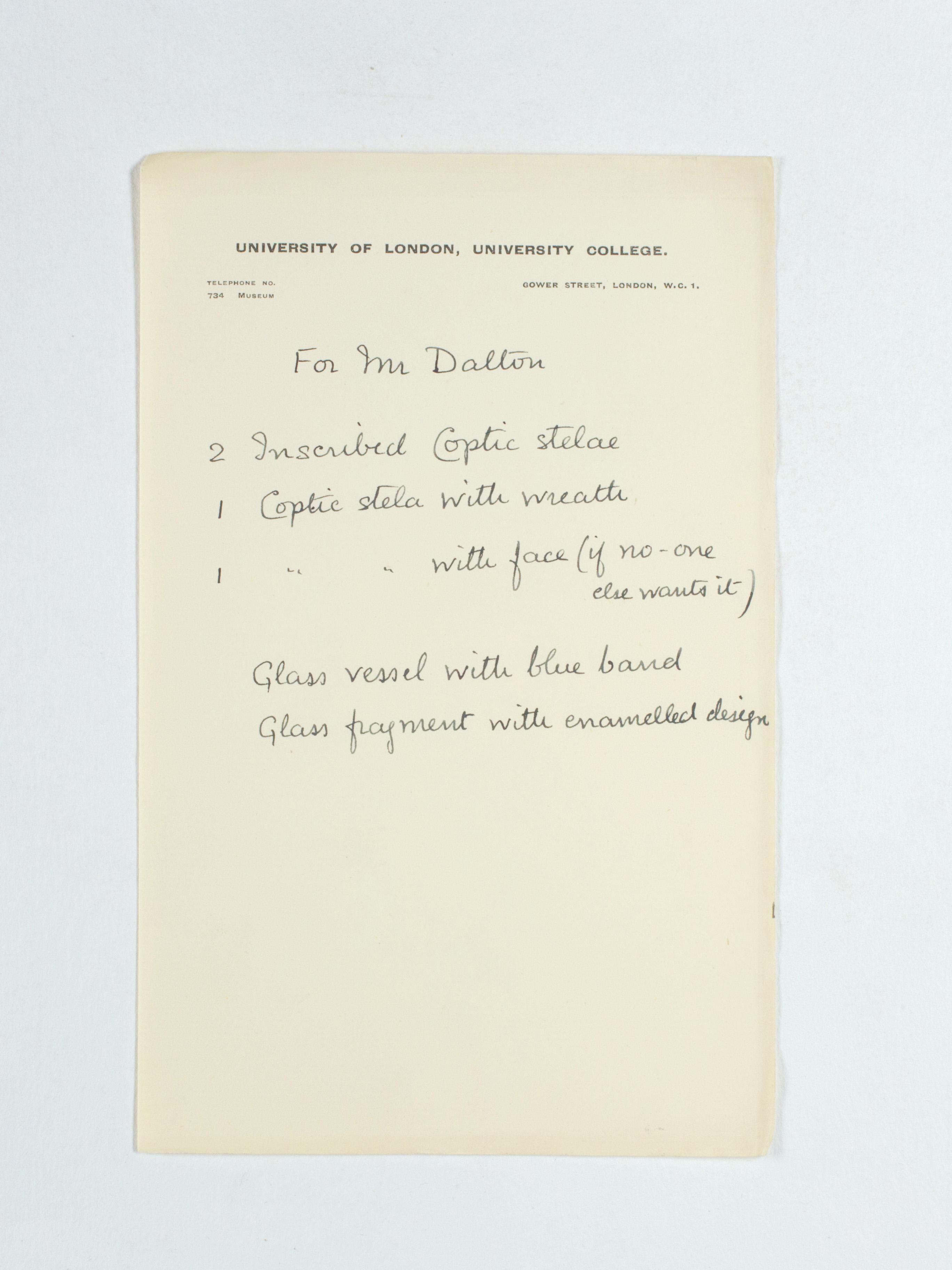 1924-25 Badari, Faiyum Correspondence PMA/WFP1/D/28/30.2