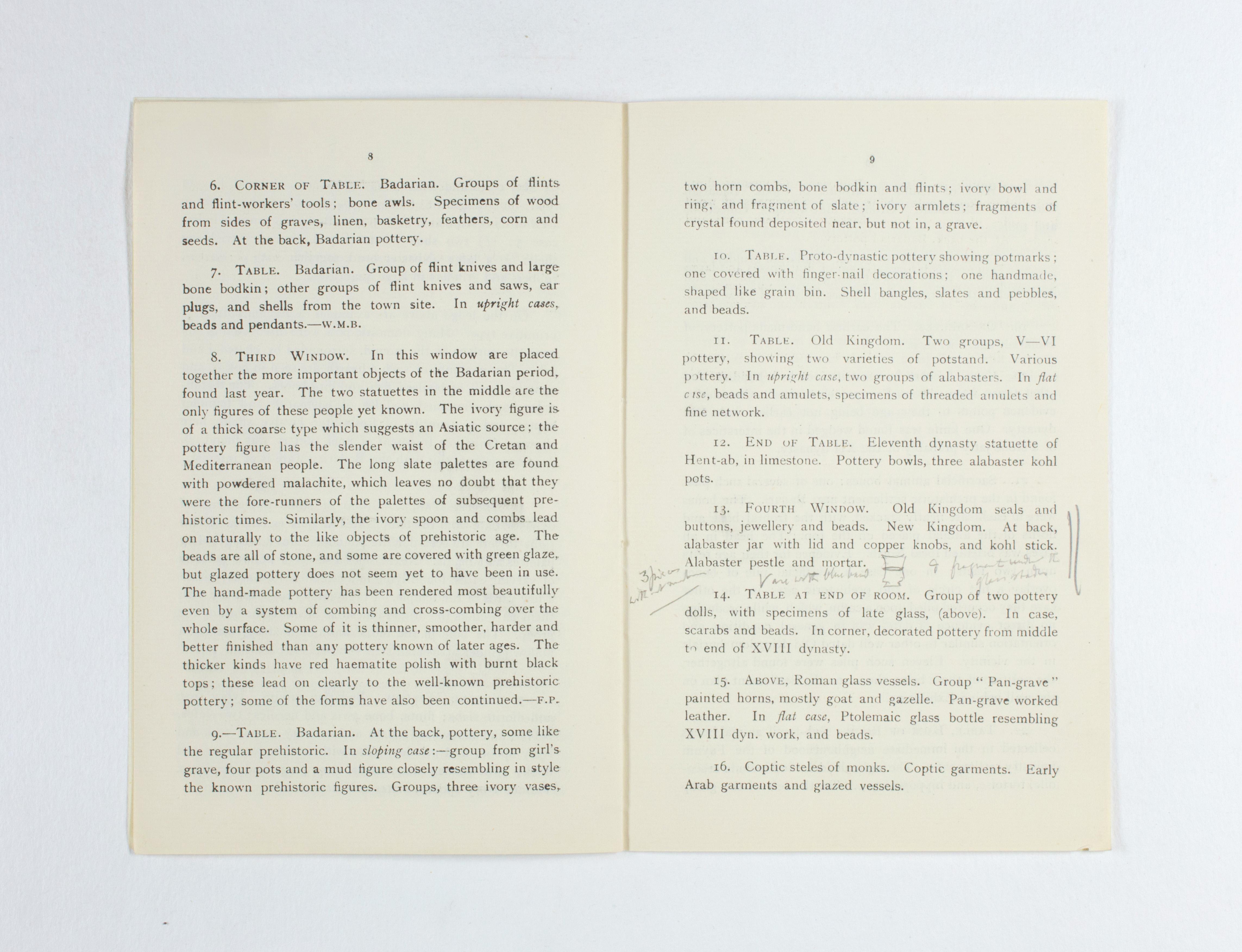 1924-25 Badari, Faiyum Exhibition catalogue PMA/WFP1/D/28/30.7