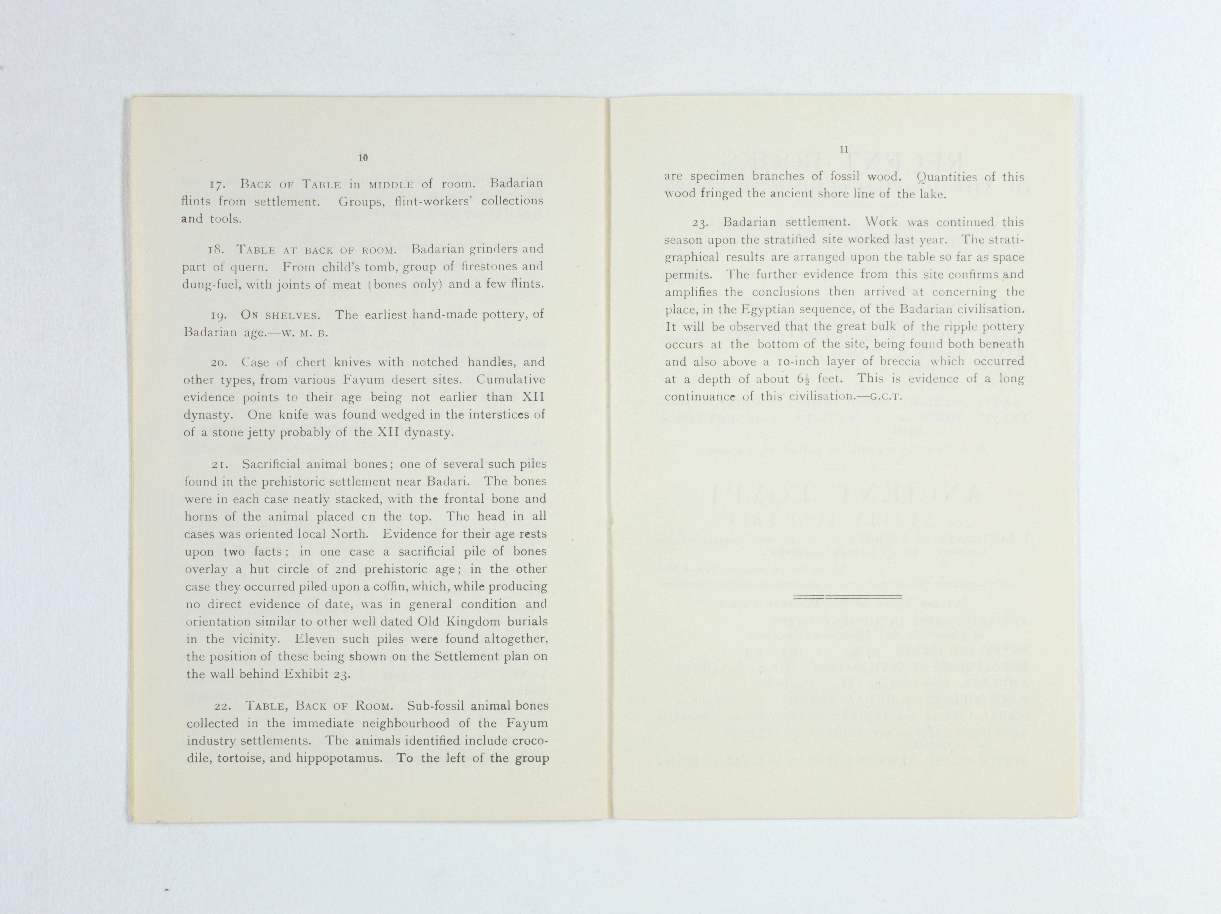 1924-25 Badari, Faiyum Exhibition catalogue PMA/WFP1/D/28/30.8