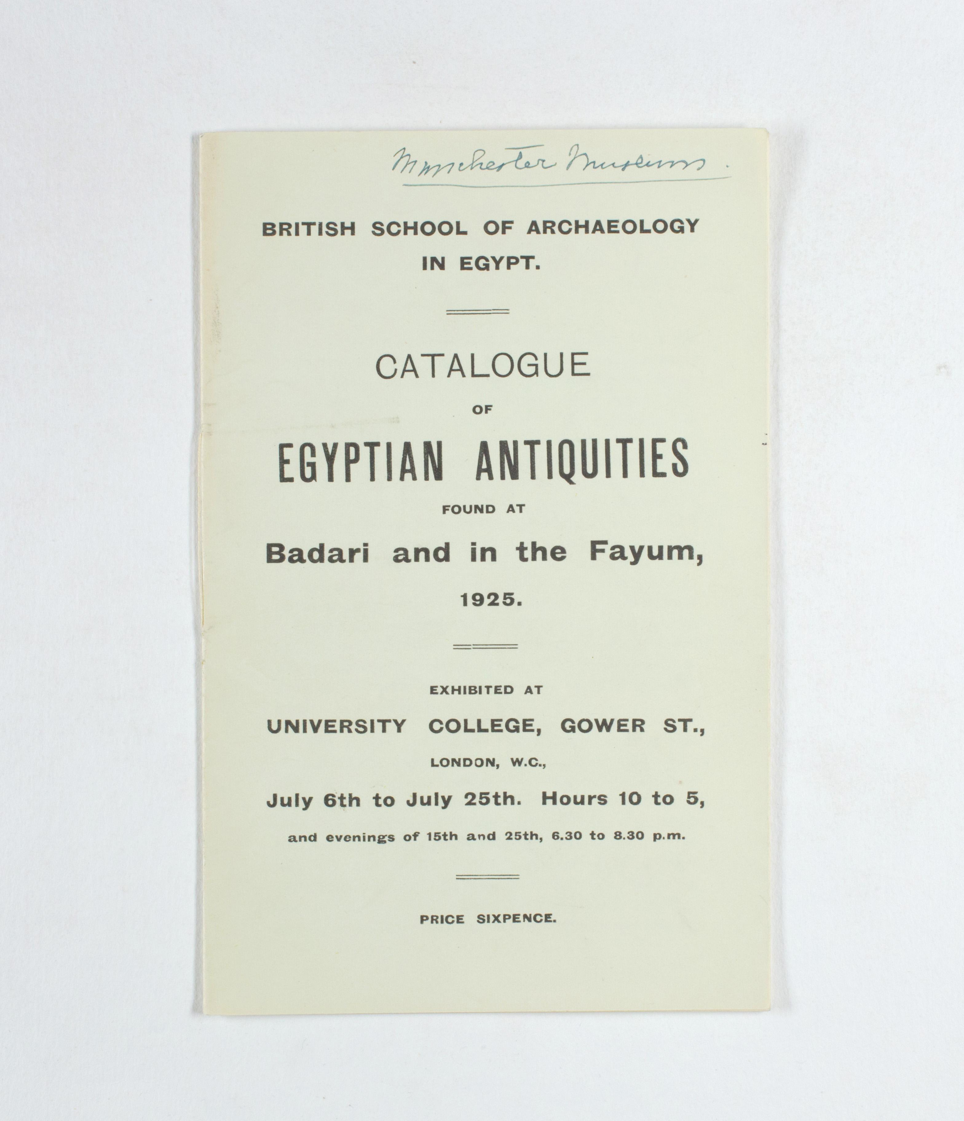 1924-25 Badari, Faiyum Exhibition catalogue PMA/WFP1/D/28/31.1