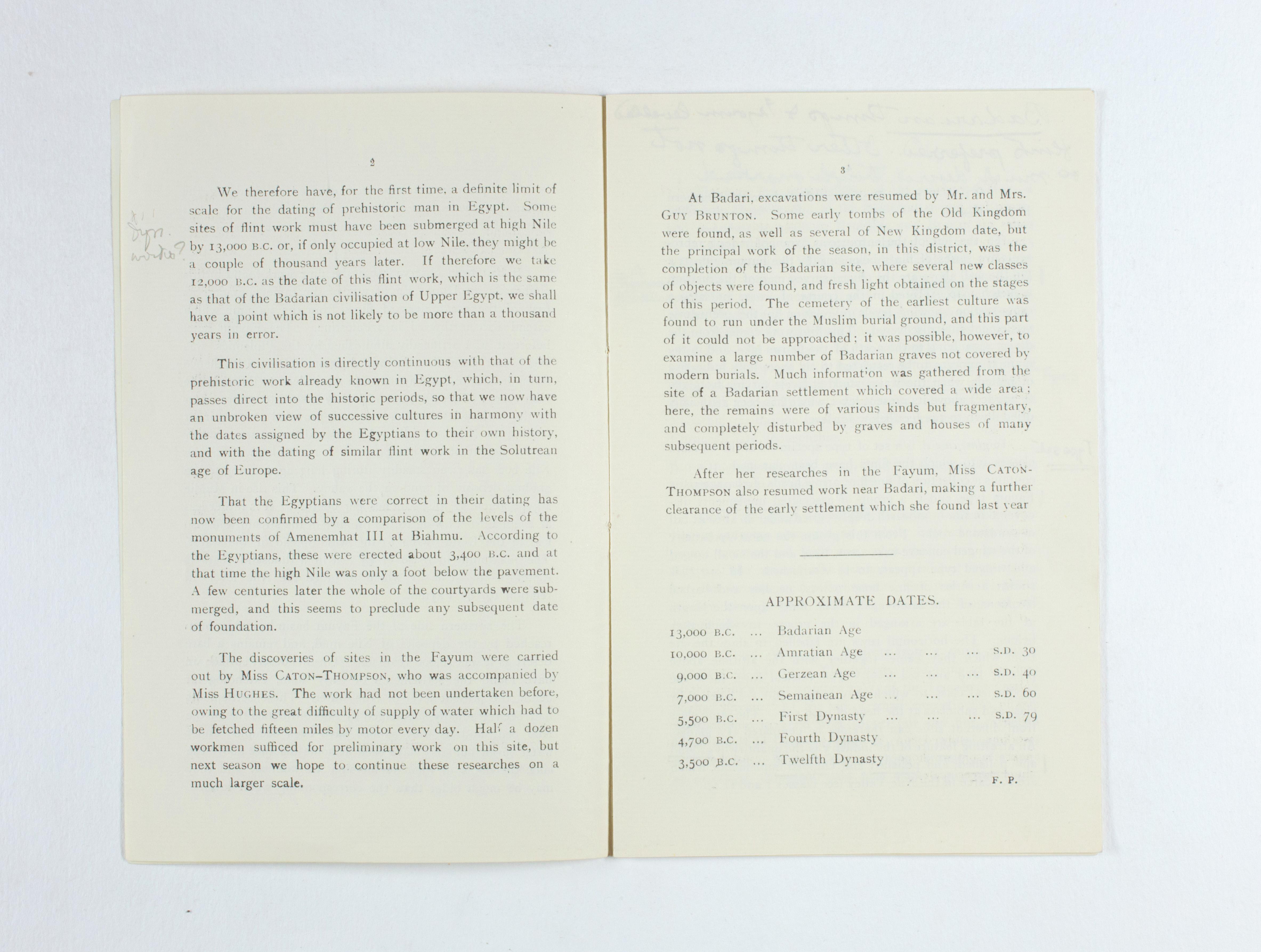 1924-25 Badari, Faiyum Exhibition catalogue PMA/WFP1/D/28/31.3