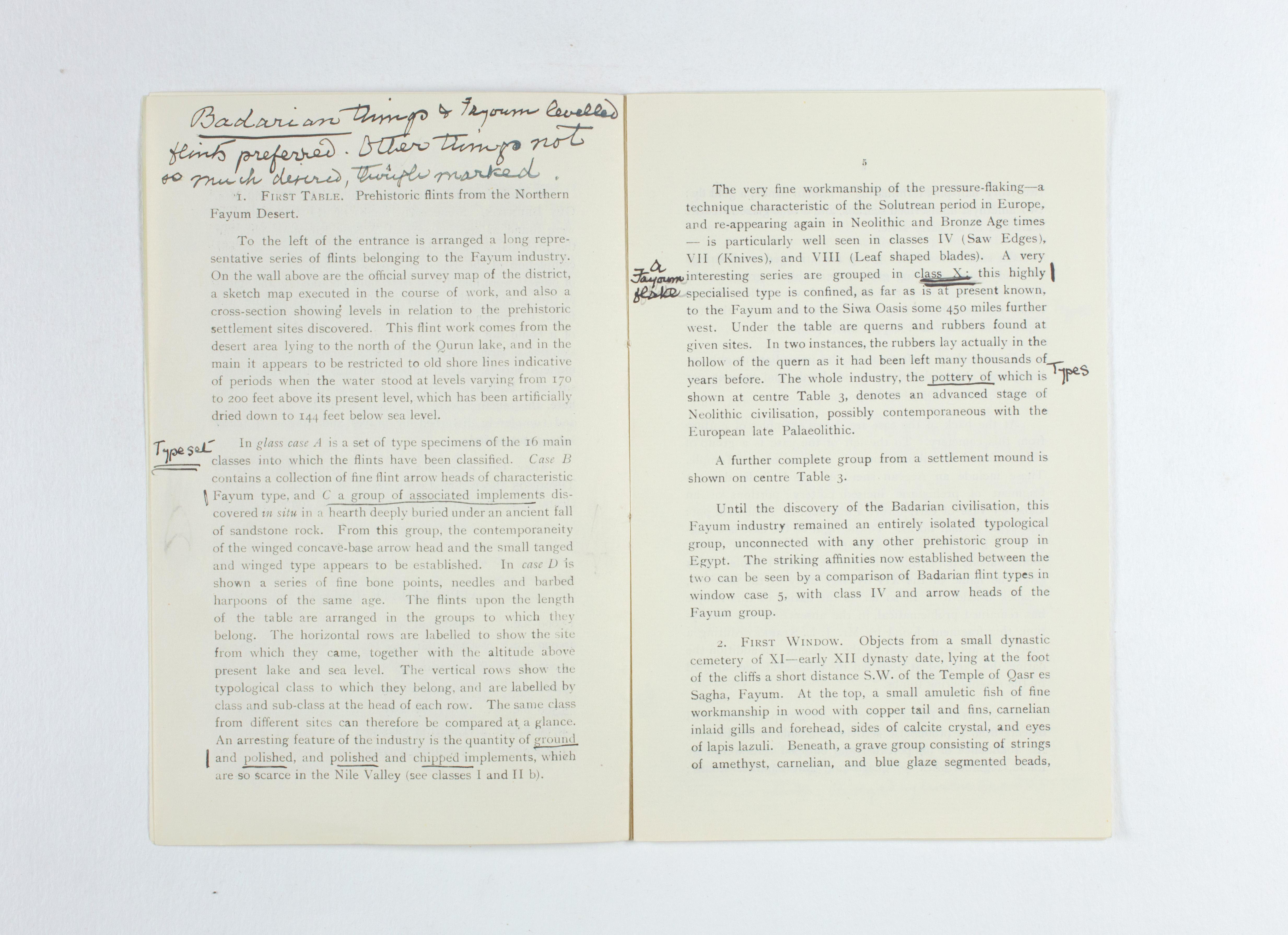 1924-25 Badari, Faiyum Exhibition catalogue PMA/WFP1/D/28/31.4