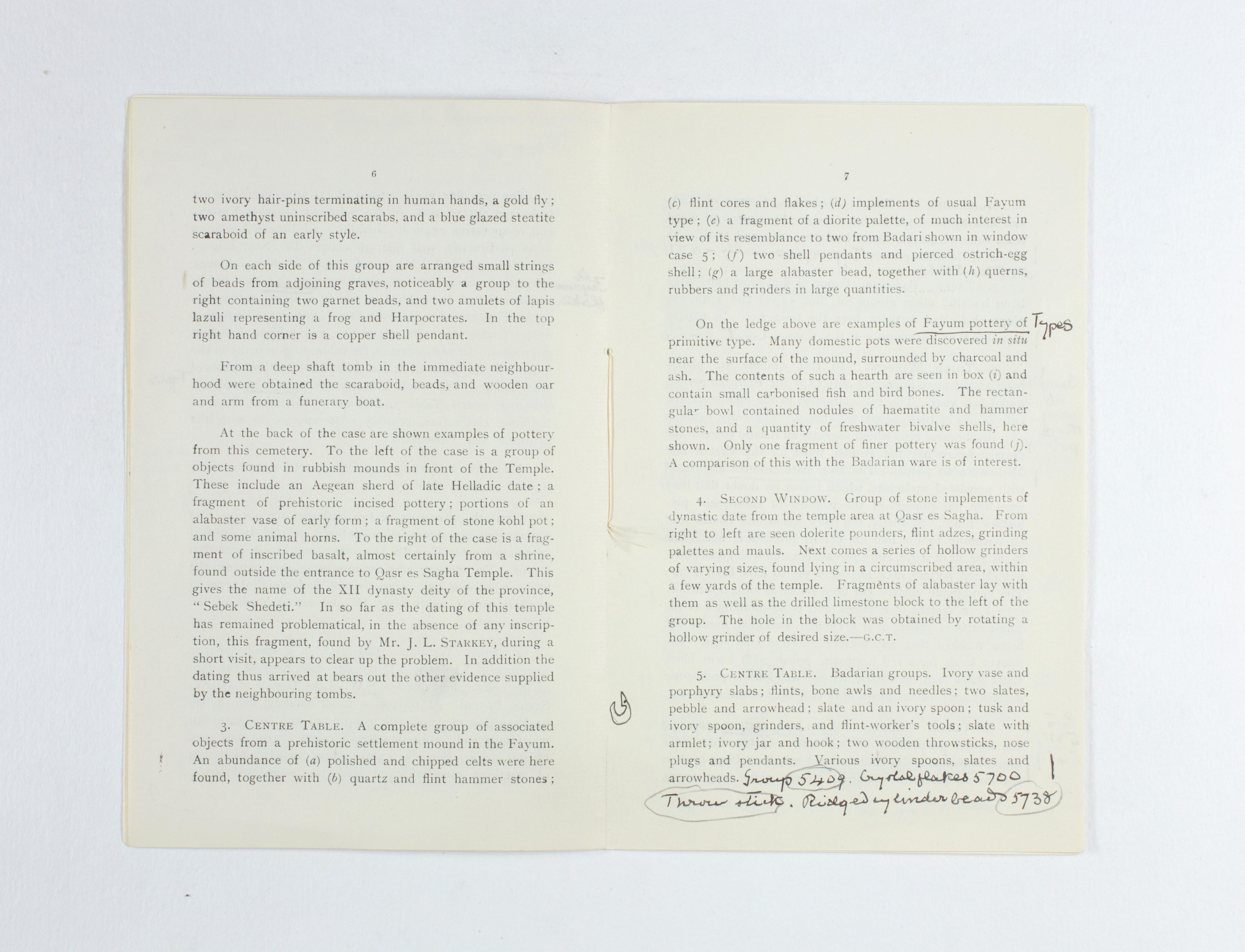1924-25 Badari, Faiyum Exhibition catalogue PMA/WFP1/D/28/31.5