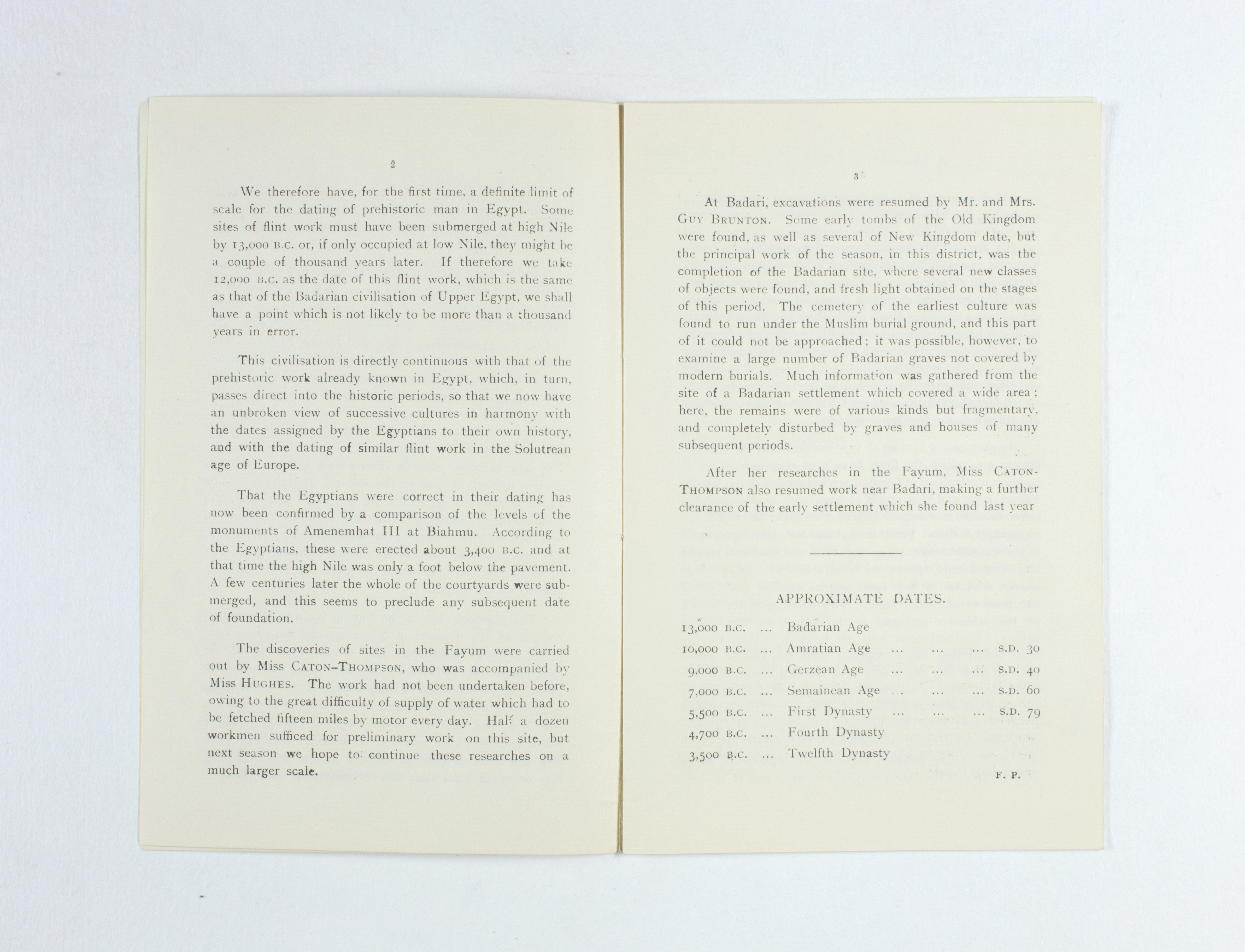 1924-25 Badari, Faiyum Exhibition catalogue PMA/WFP1/D/28/32.3