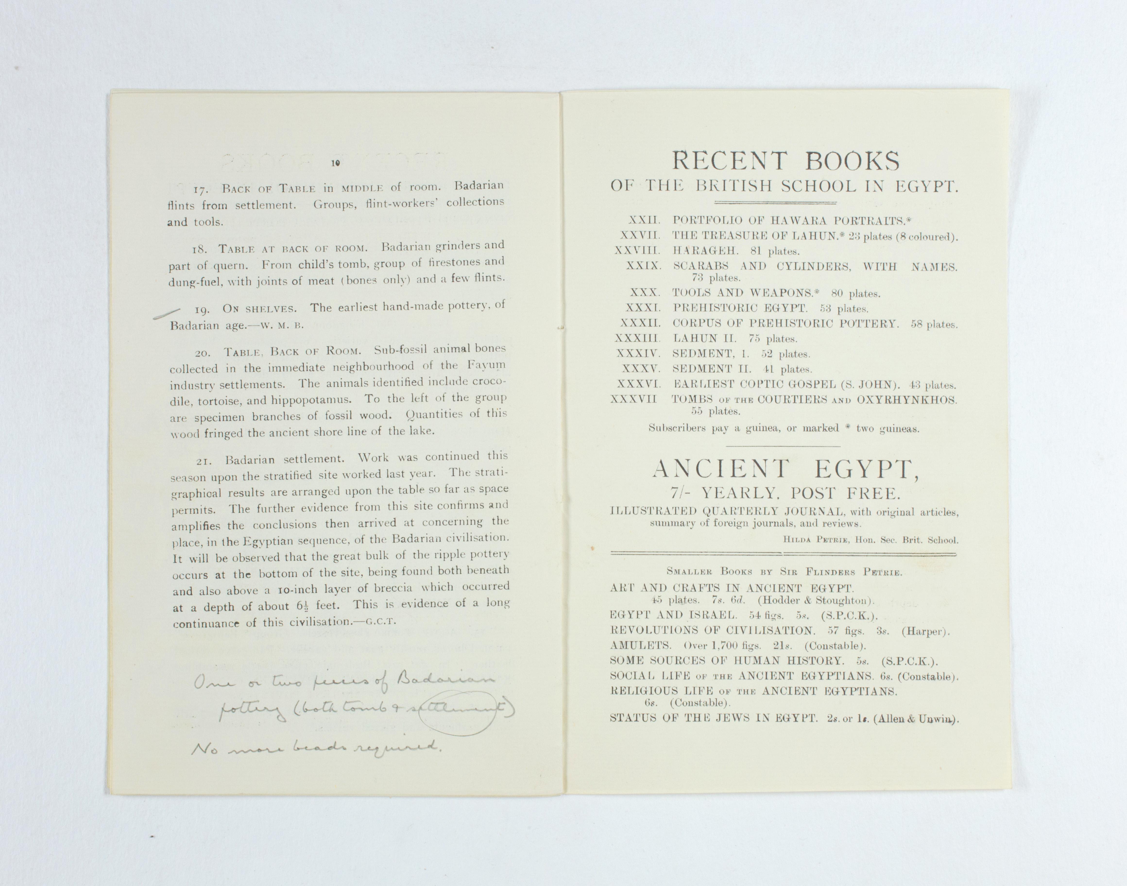 1924-25 Badari, Faiyum Exhibition catalogue PMA/WFP1/D/28/32.7
