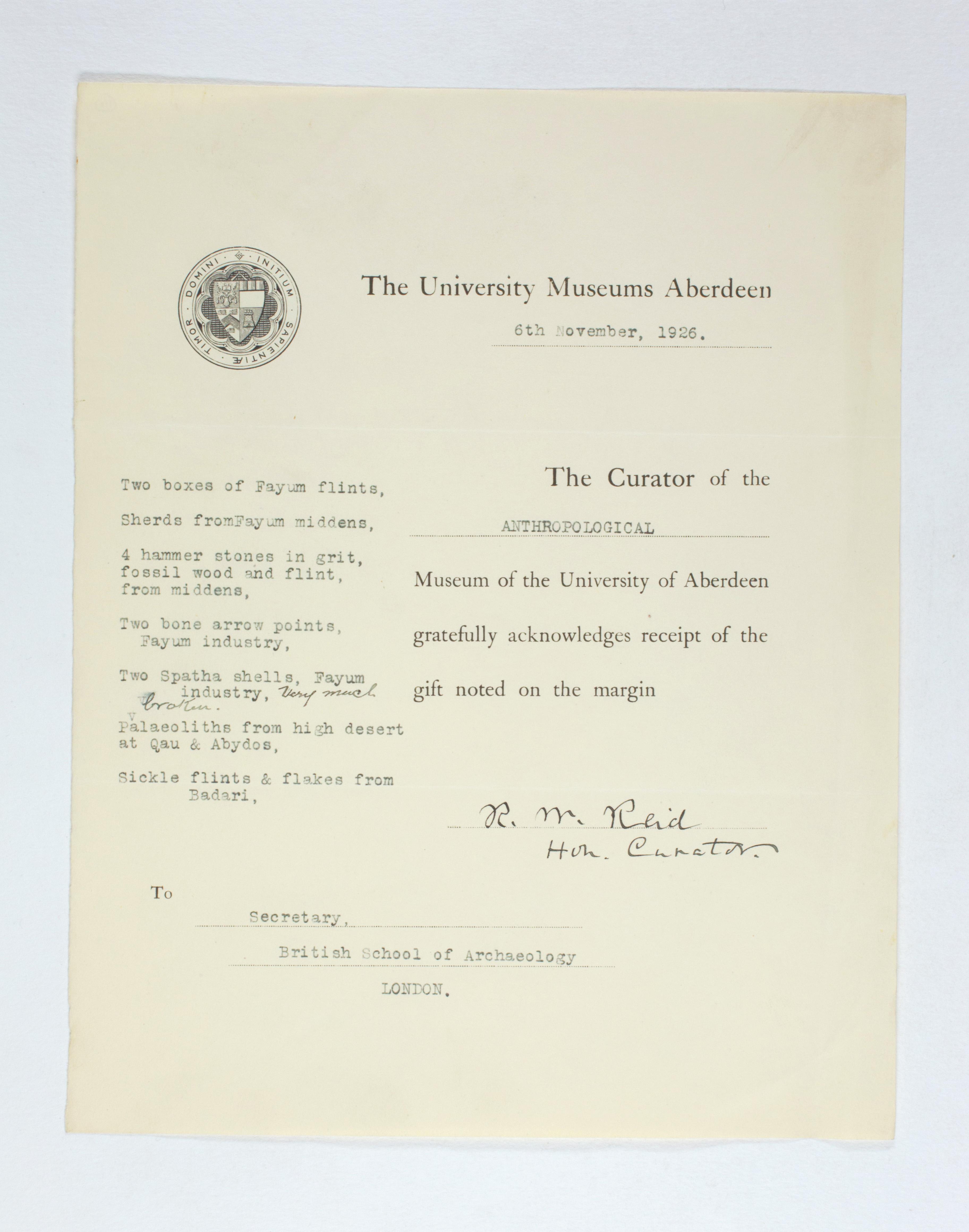 1925-26 Badari, Faiyum Receipt from institution  PMA/WFP1/D/29/10