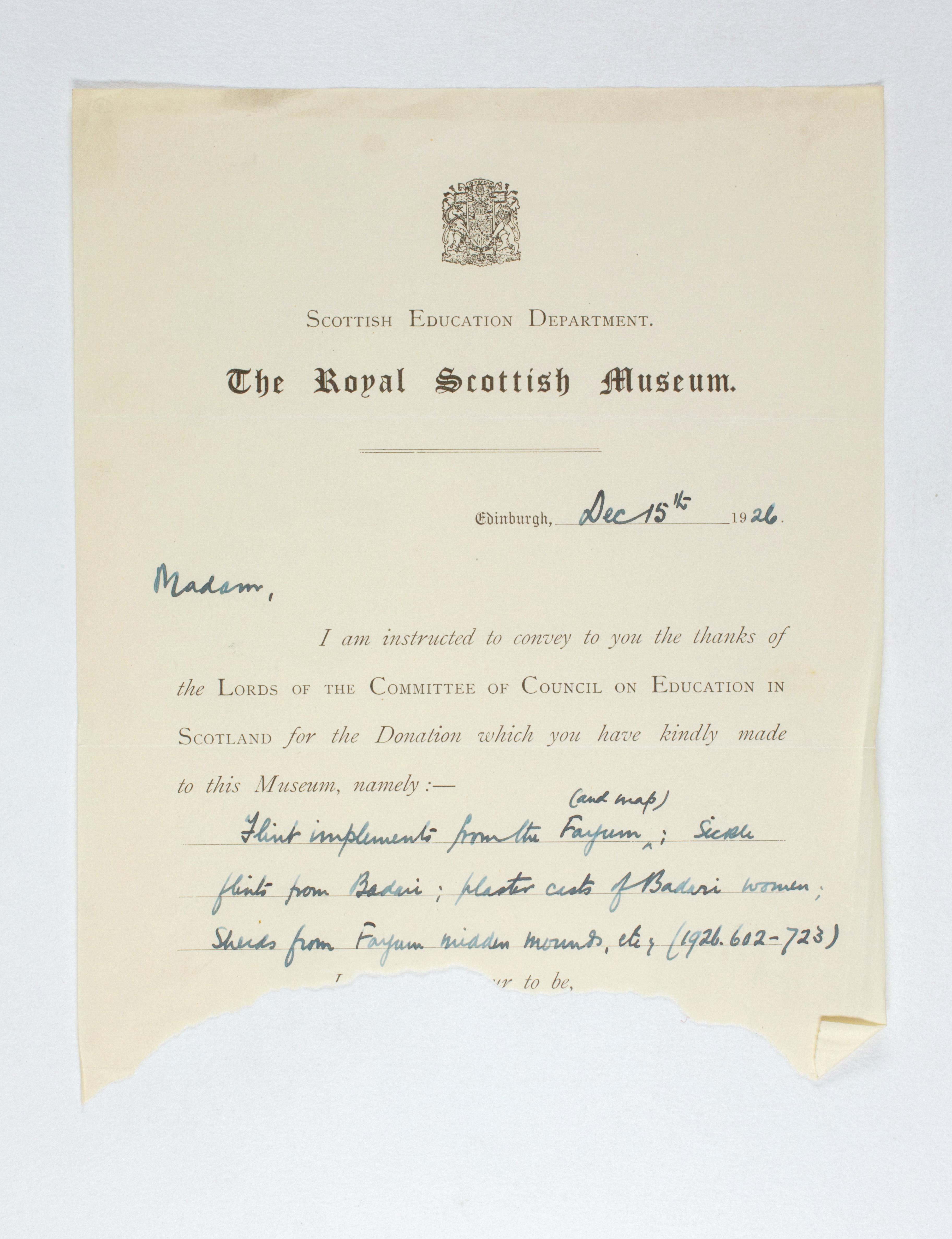 1925-26 Badari, Faiyum Receipt from institution  PMA/WFP1/D/29/12