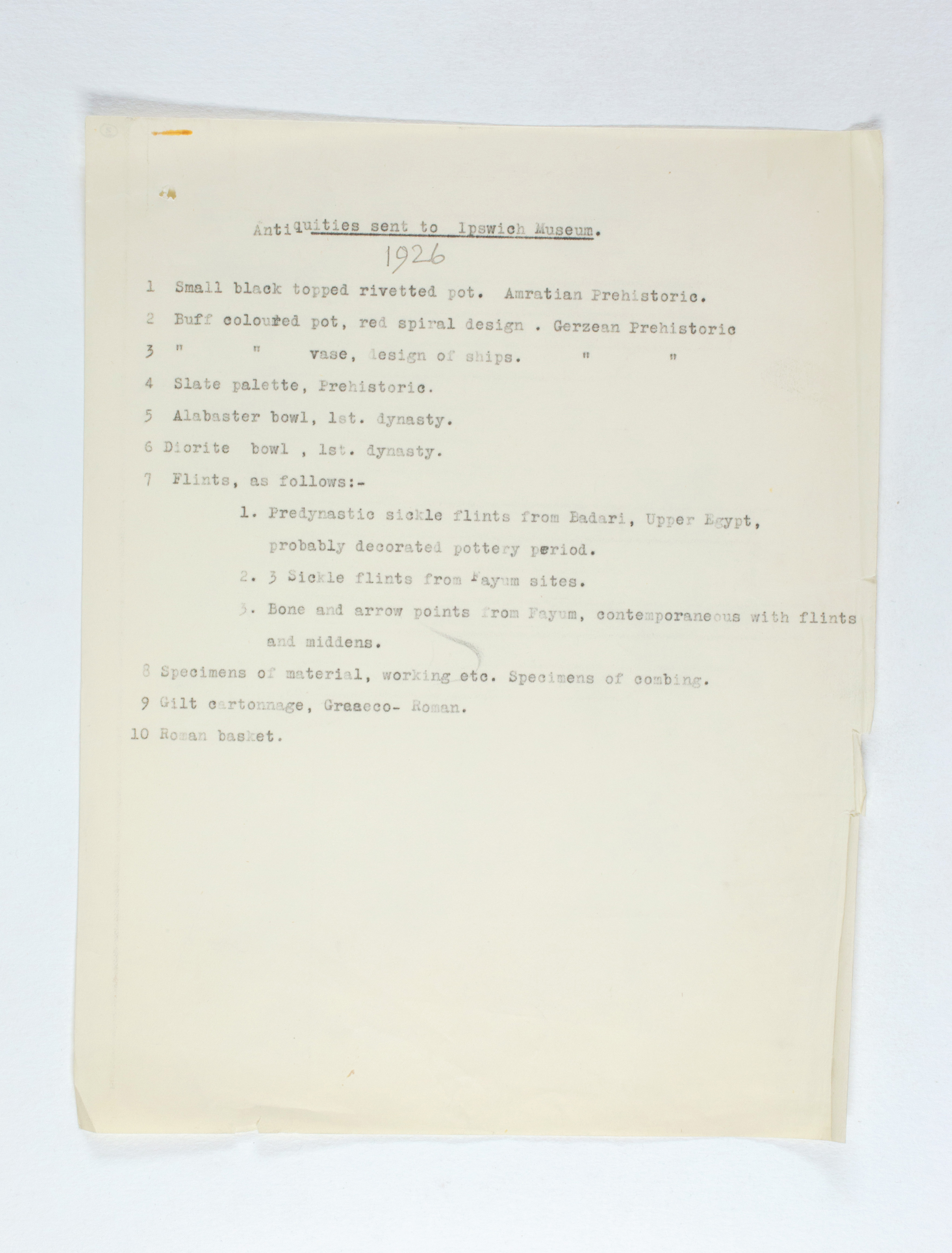 1925-26 Badari, Faiyum Individual institution list PMA/WFP1/D/29/3