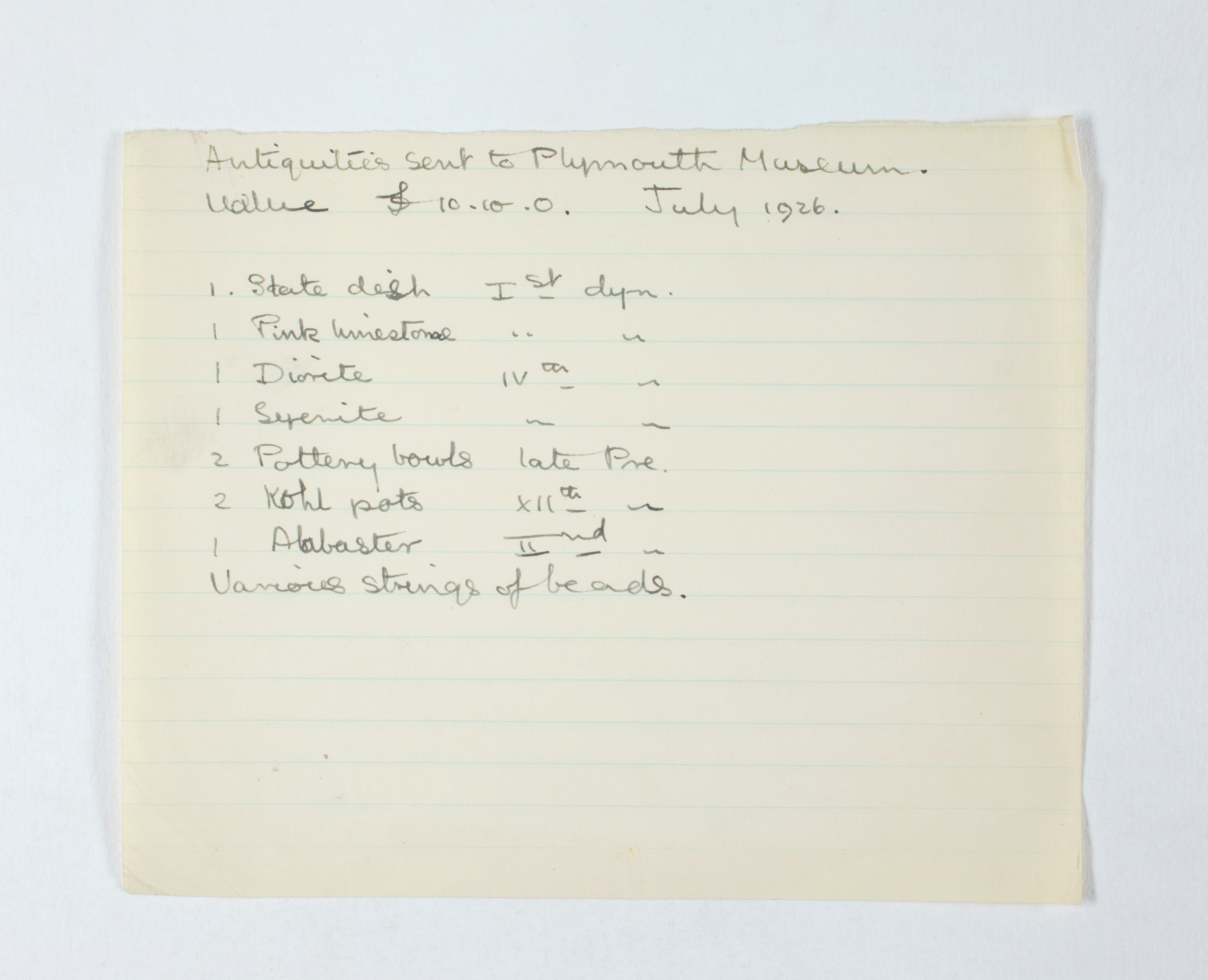 1925-26 Badari, Faiyum Individual institution list PMA/WFP1/D/29/5