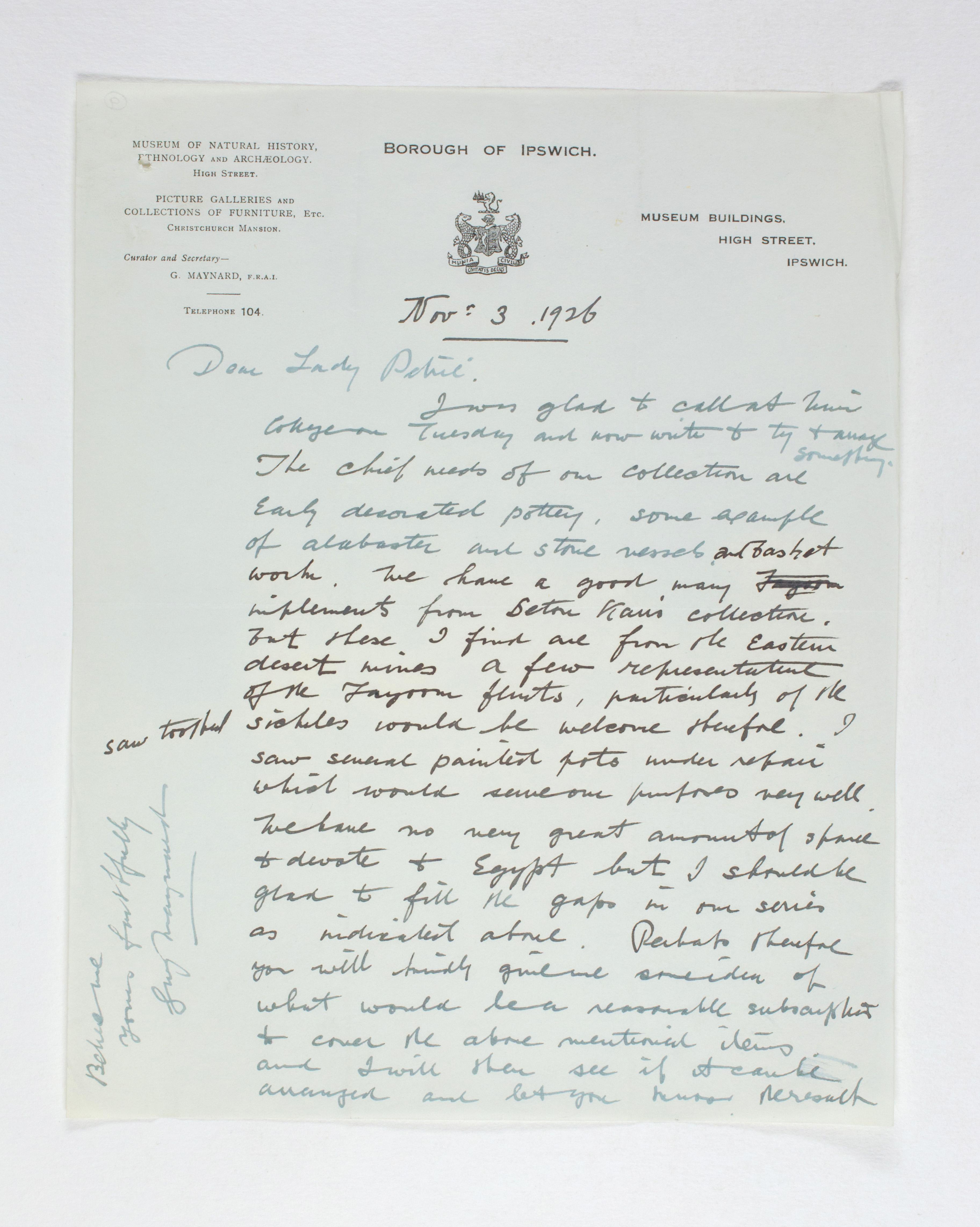 1925-26 Badari, Faiyum Receipt from institution  PMA/WFP1/D/29/9