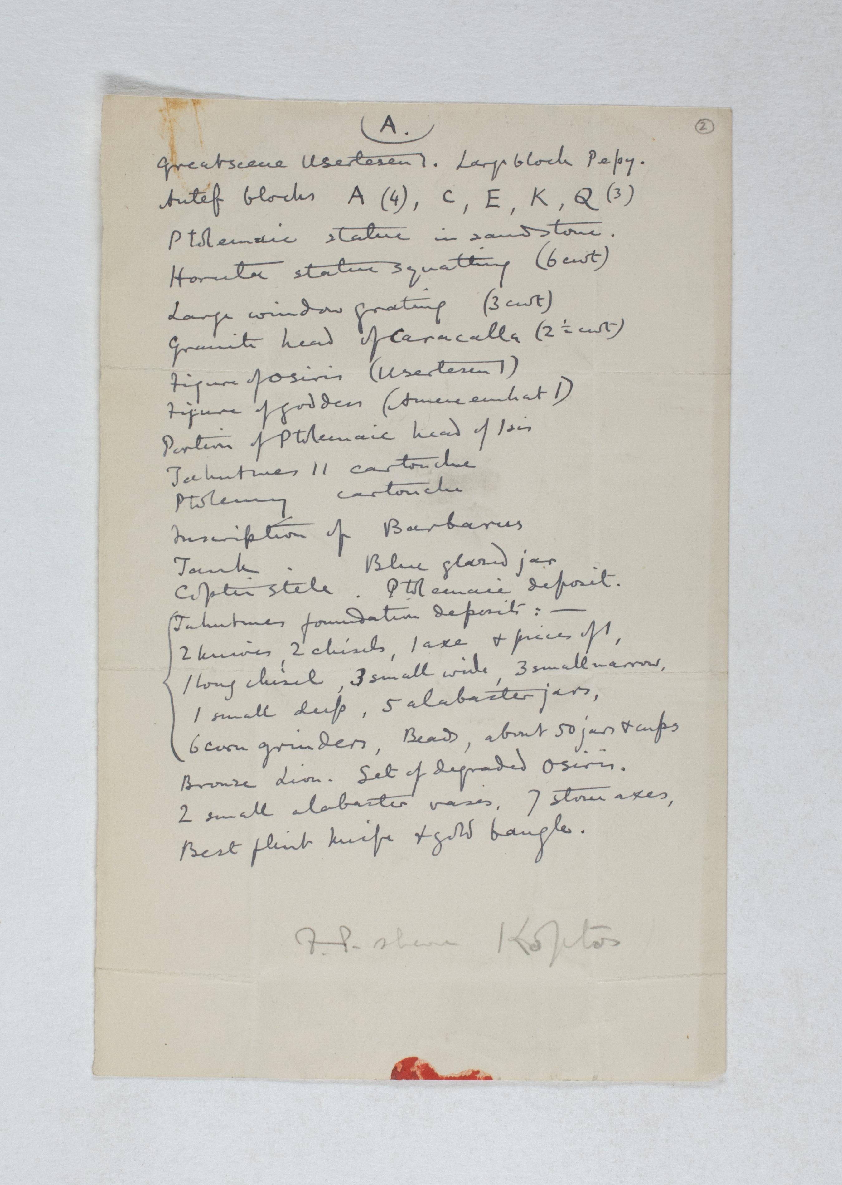 Koptos 1983-1894, Object List, PMA/WFP1/D/2/2.1
