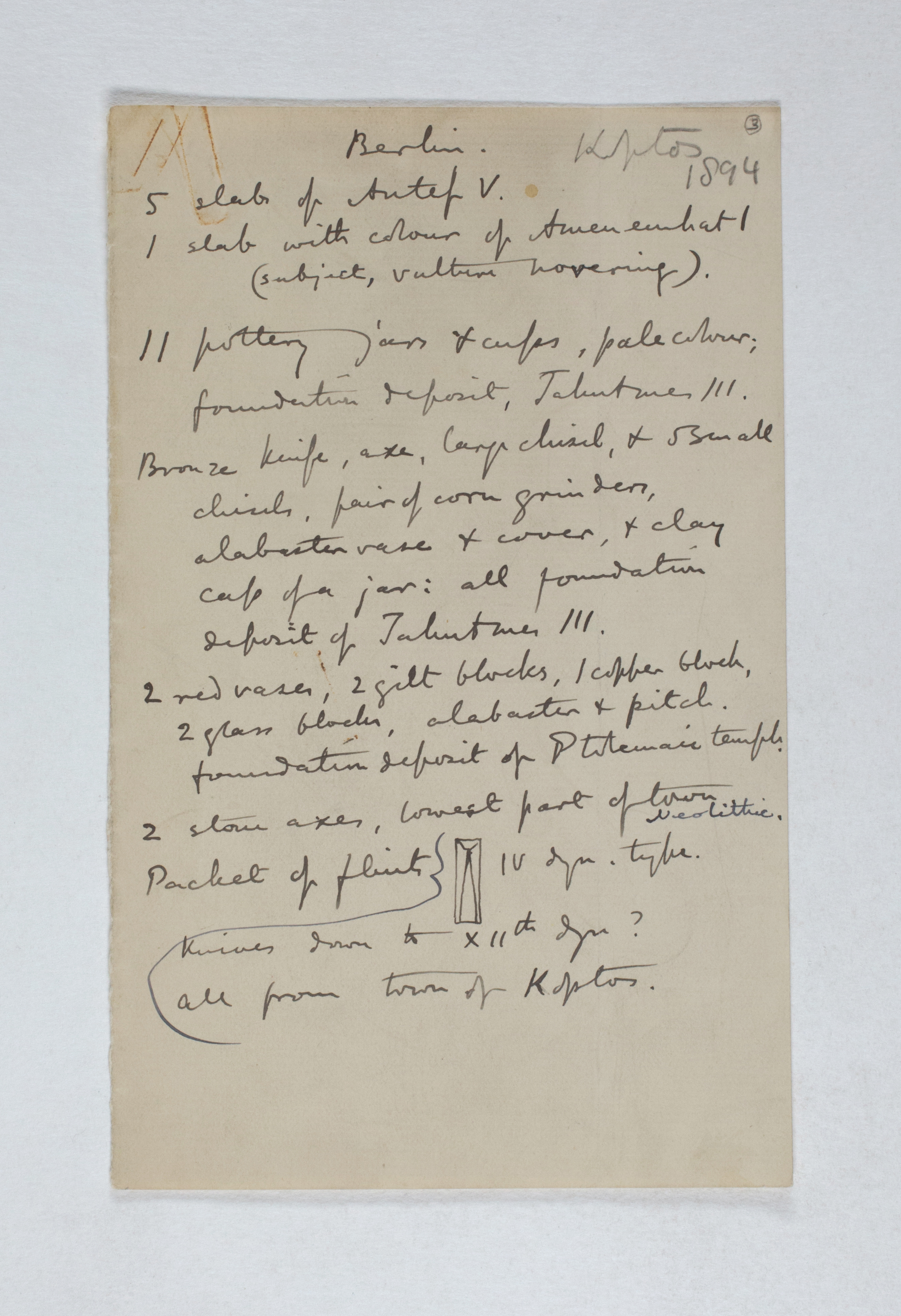 Koptos 1983-1894, Individual Institution List, PMA/WFP1/D/2/3