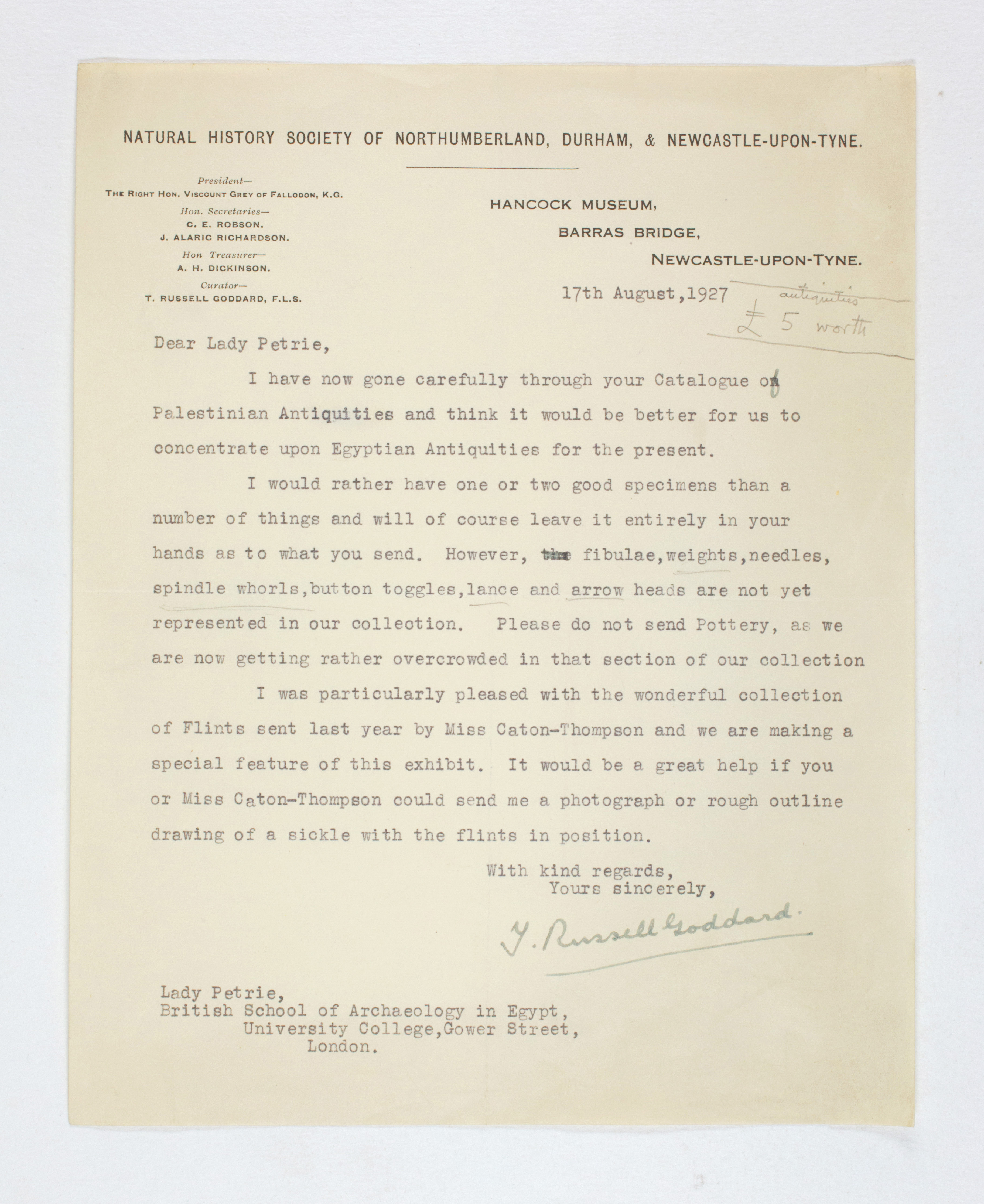 1926-27 Secondary distribution from UCL Correspondence PMA/WFP1/D/30/24