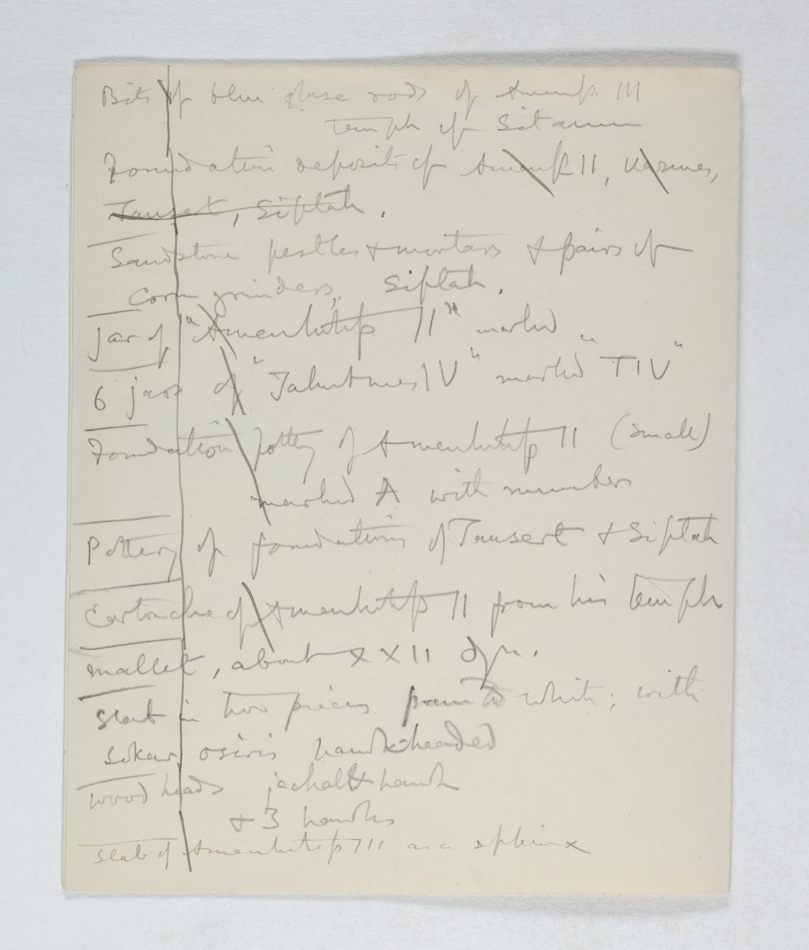 West Thebes 1895-1896, Individual Institution List, PMA/WFP1/D/4/11.2
