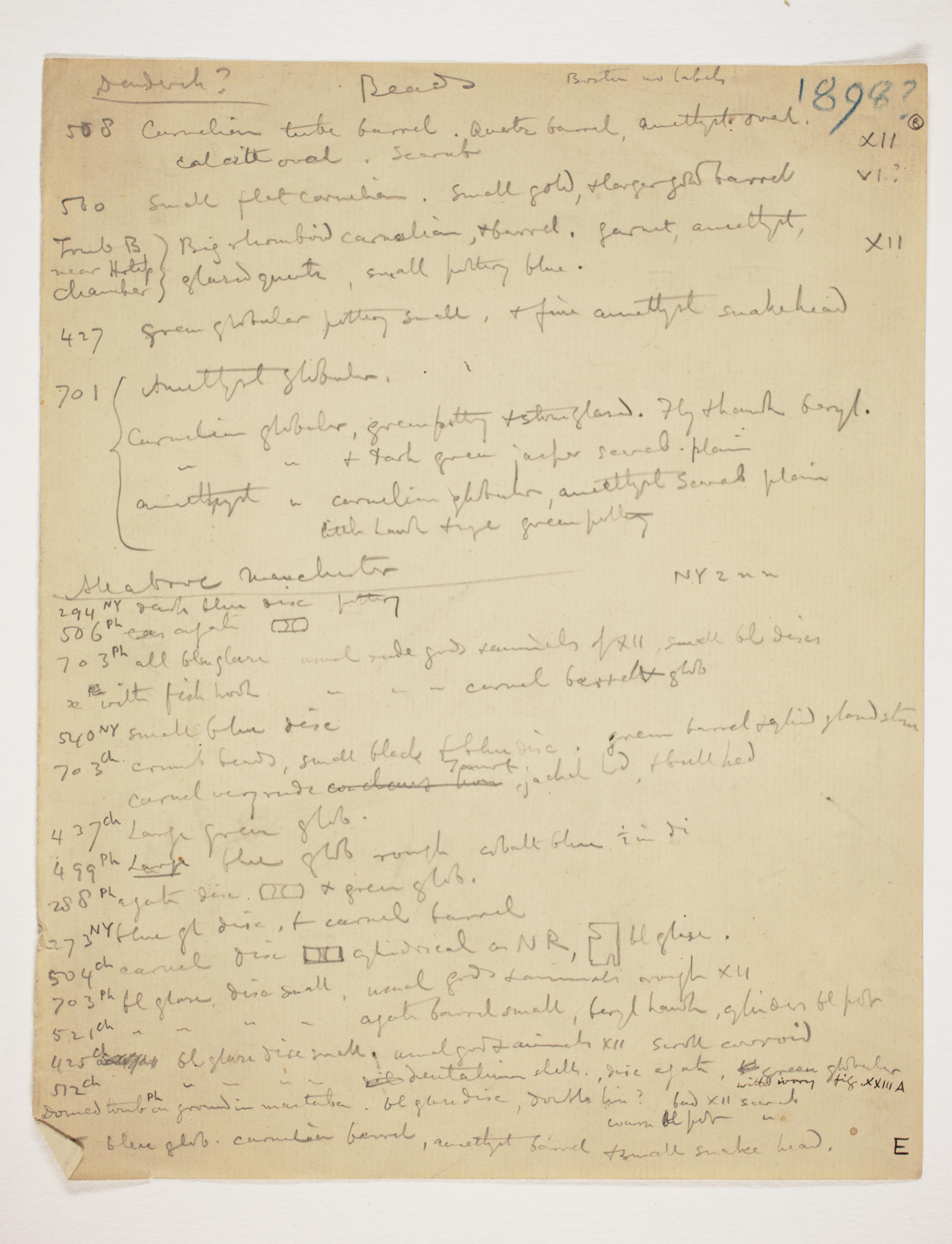 1897-98 Dendara, Hierakonpolis Multiple institution list PMA/WFP1/D/6/8