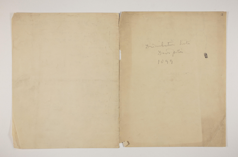 1898-99 Hu, Faiyum, Deir el-Bahri Distribution list PMA/WFP1/D/7/3.2