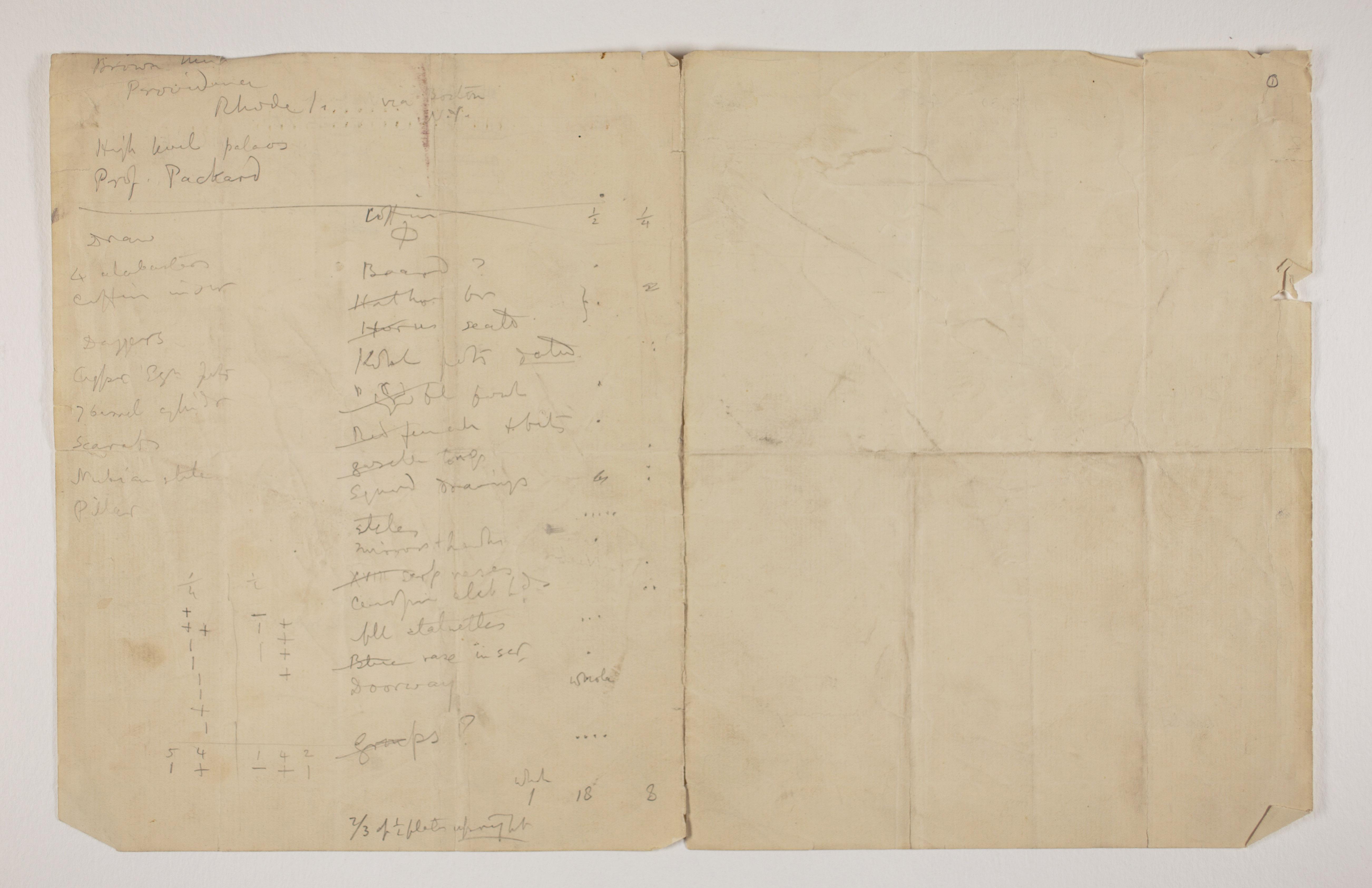 1899-1900 Abydos Object list  PMA/WFP1/D/8/1.1