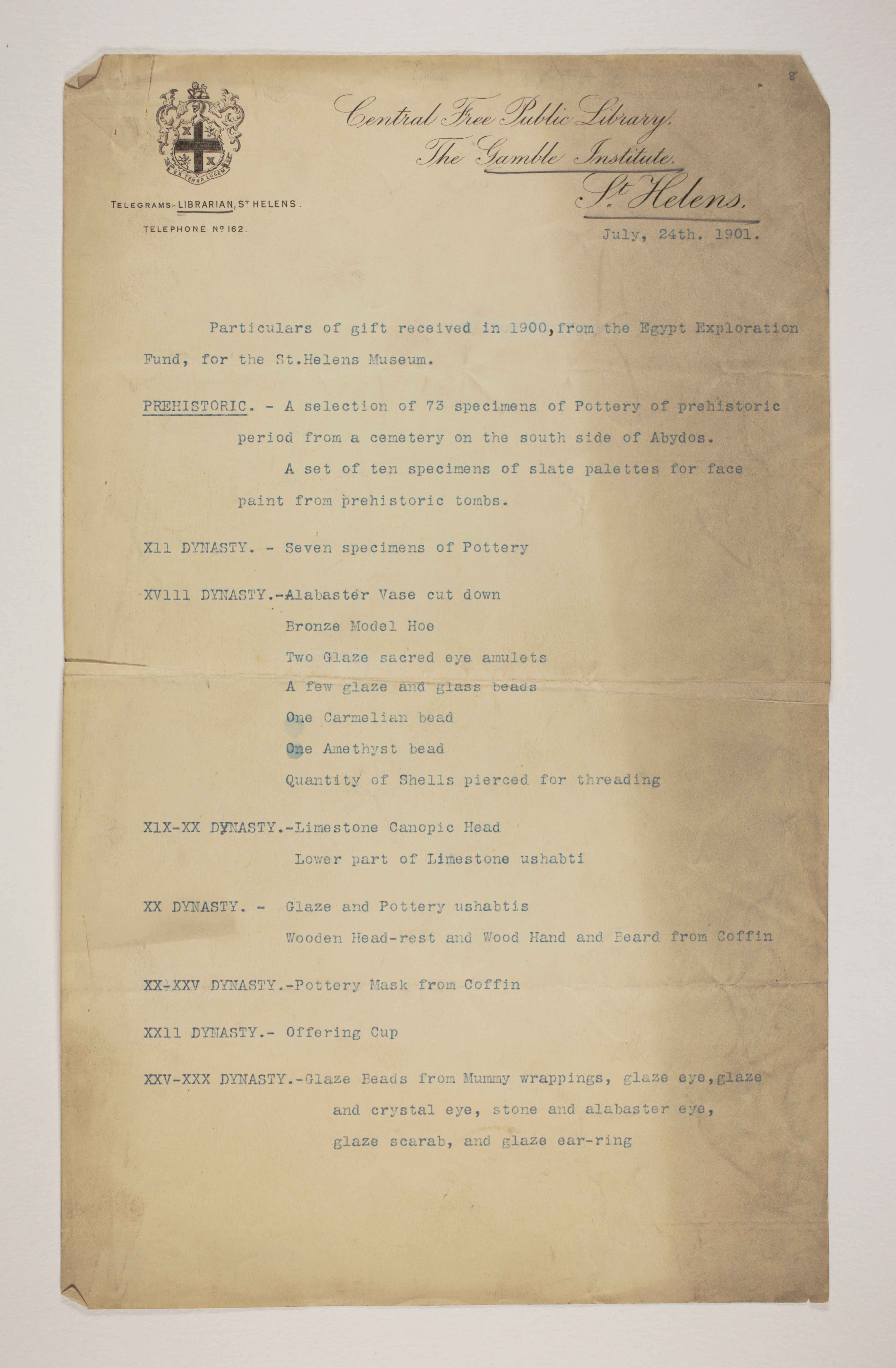 1899-1900 Abydos Receipt from institution PMA/WFP1/D/8/8.1