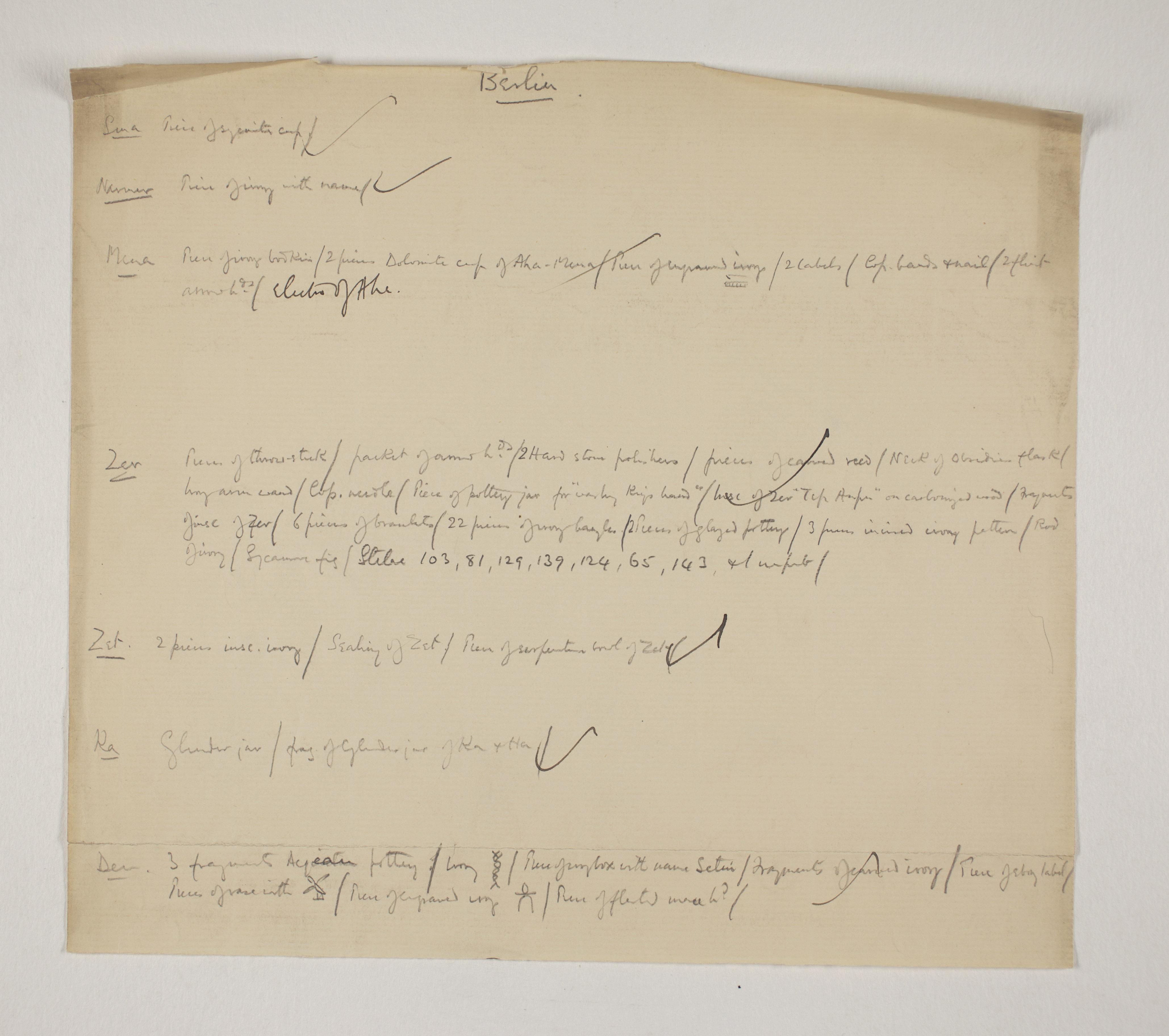 1900-01 Abydos, Bet Khallaf, el-Mahasna Individual institution list  PMA/WFP1/D/9/12.1