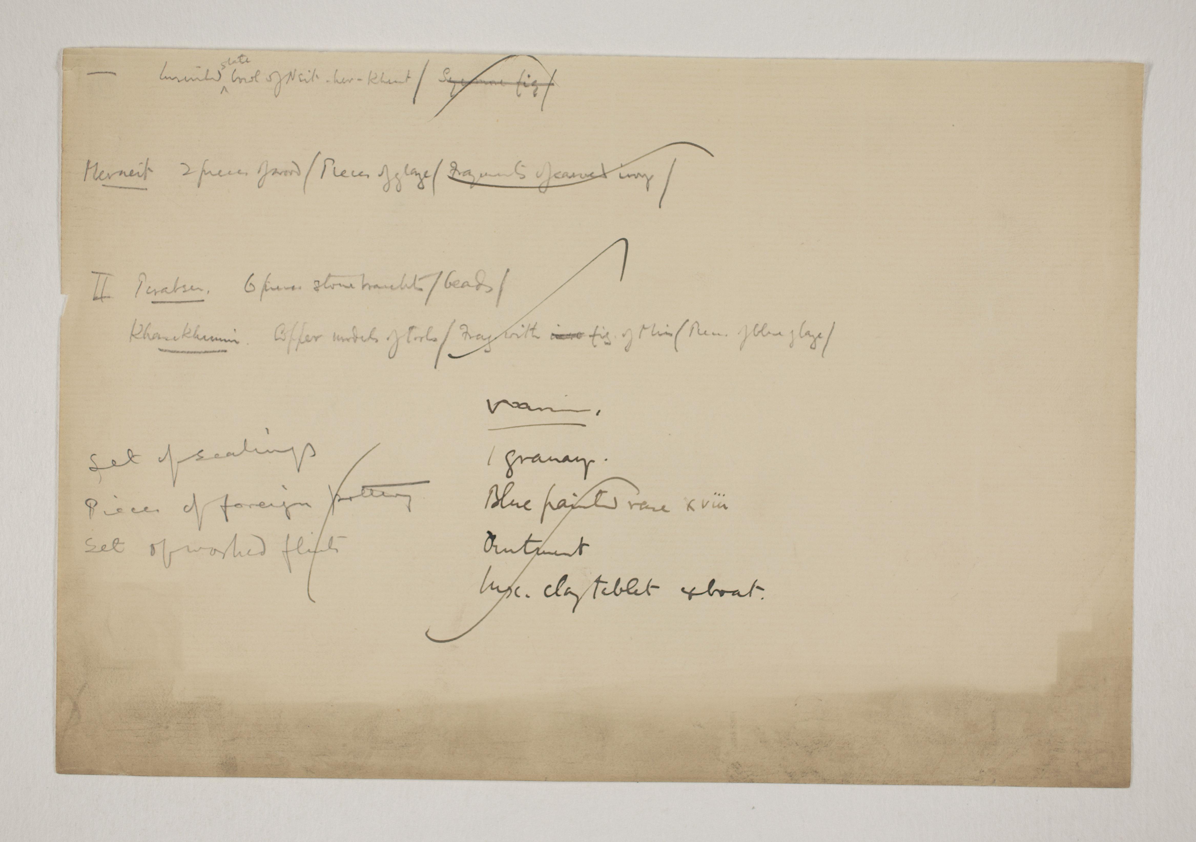 Abydos, Bet Khallaf, el-Mahasna 1900-1901, Individual Institution List, PMA/WFP1/D/9/12.2