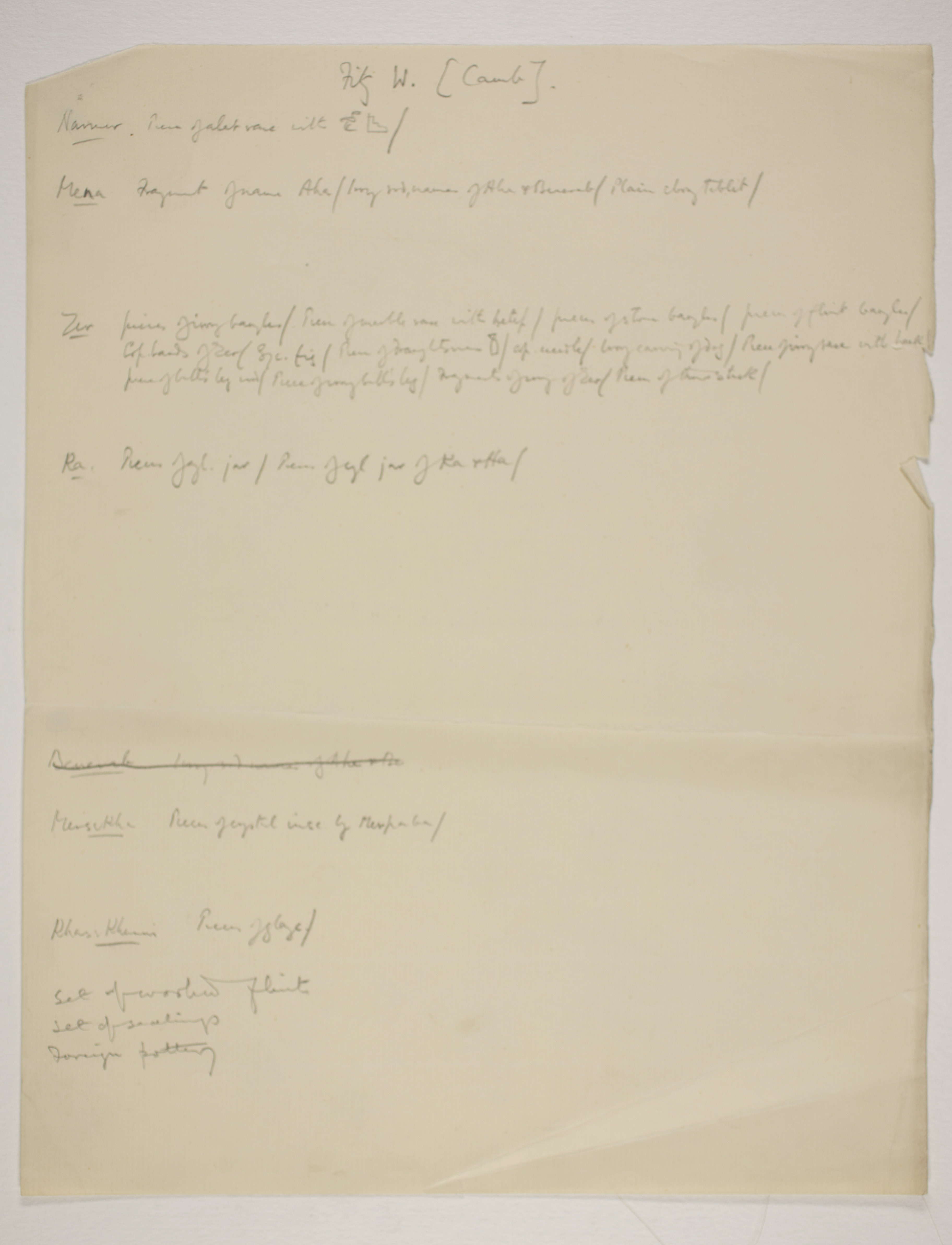 1900-01 Abydos, Bet Khallaf, el-Mahasna Individual institution list  PMA/WFP1/D/9/14