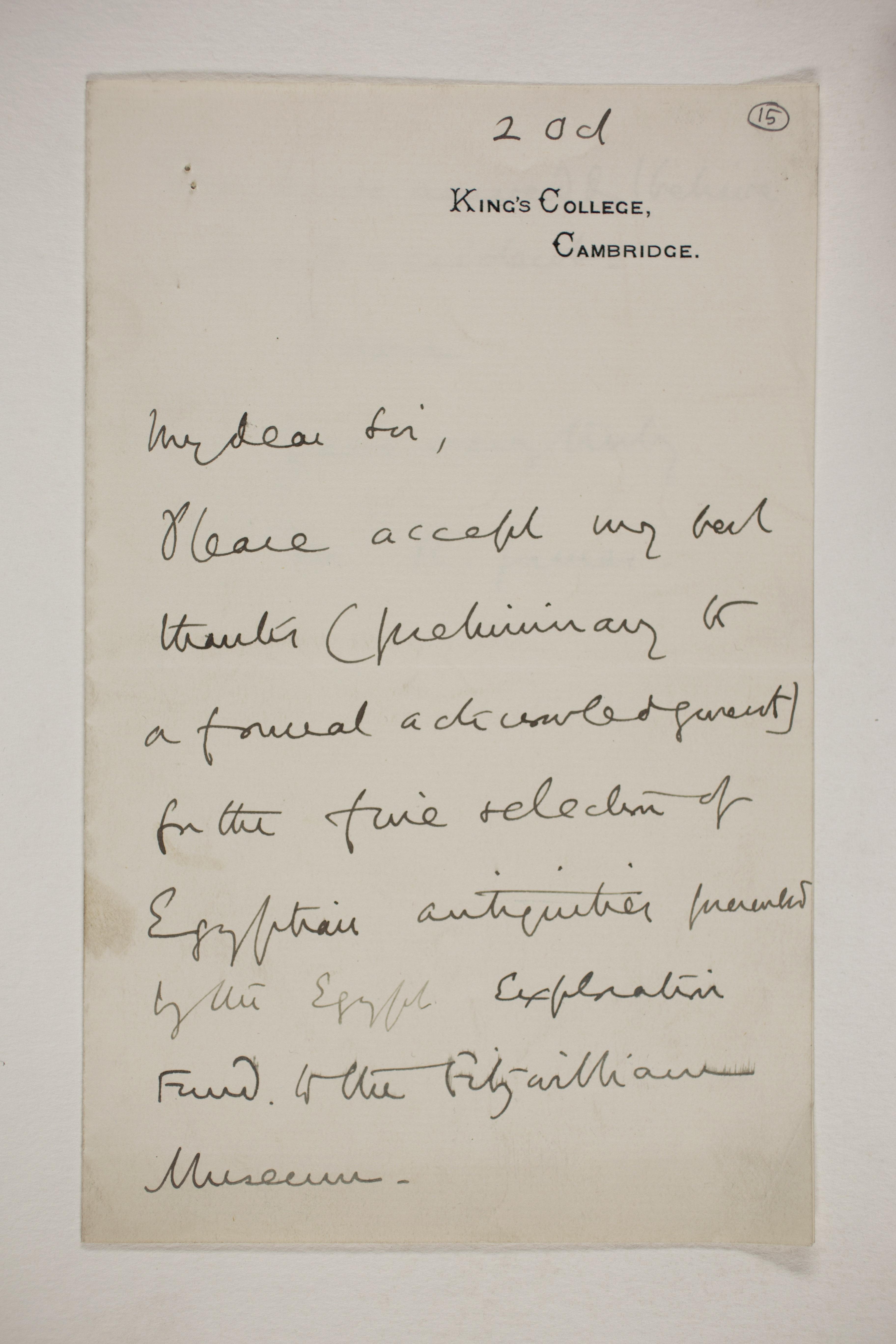 Abydos, Bet Khallaf, el-Mahasna 1900-1901, Correspondence, PMA/WFP1/D/9/15.1